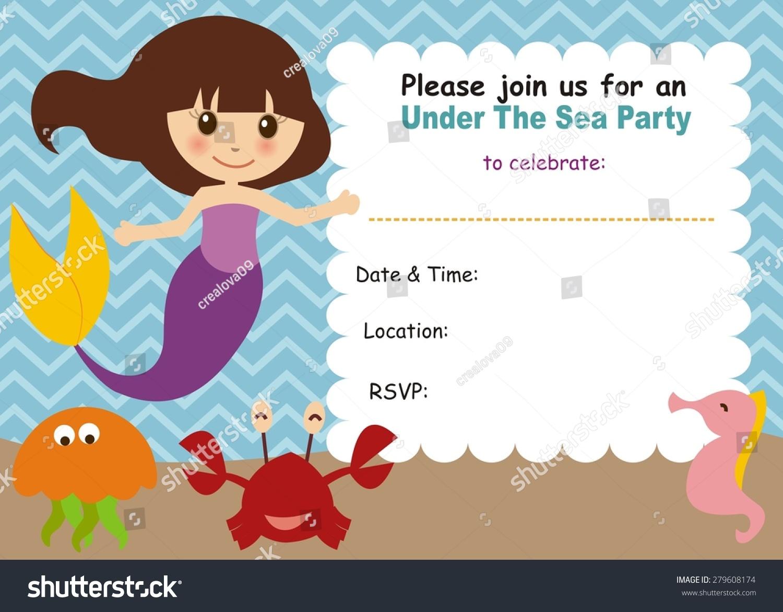 Little Mermaid Birthday Invitation Stock Vector (Royalty Free ...