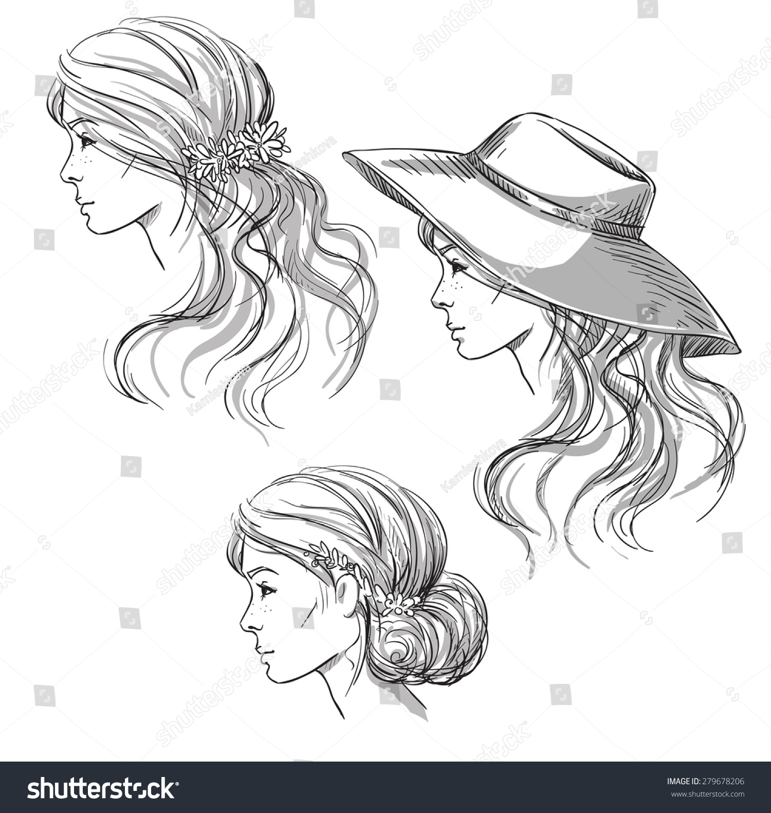 royalty free girl with different hairstyles profile 279678206