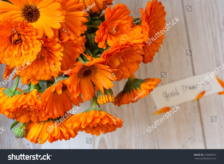 Good Morning Orange Flowers : Orange flowers vase on white wooden stock photo