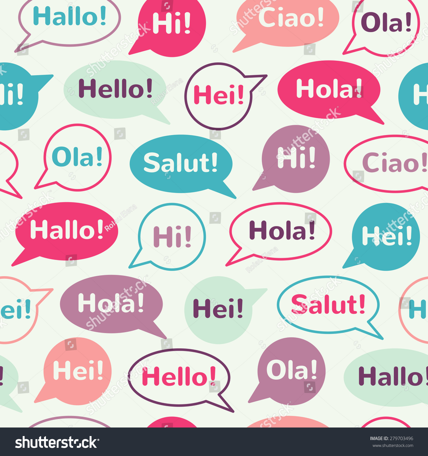 Speech Bubbles Greetings Different Languages English Stock