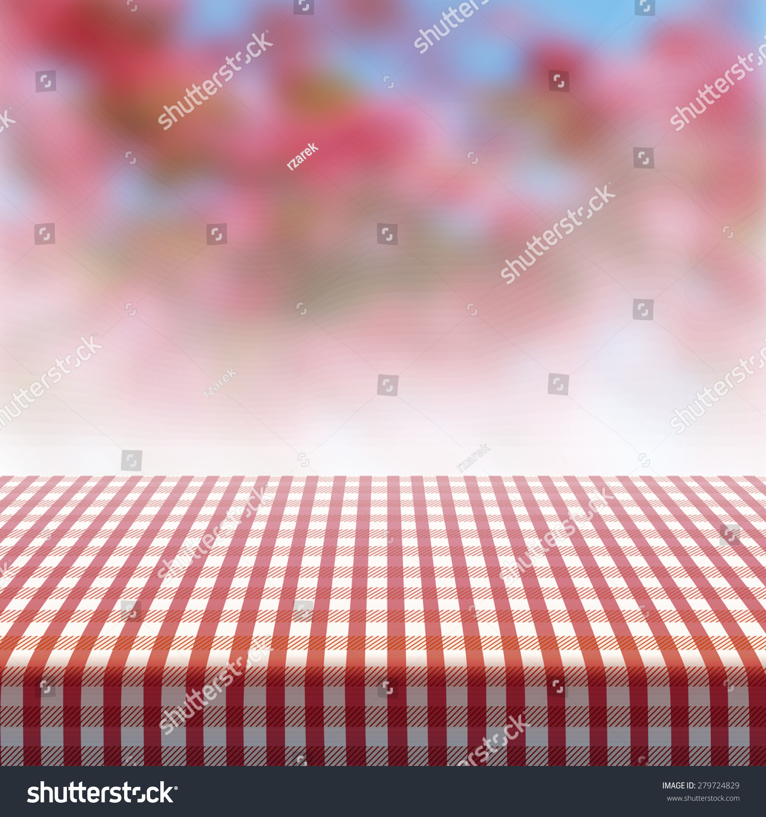 Vector Picnic Table Covered With Tablecloth On Blurred Background.
