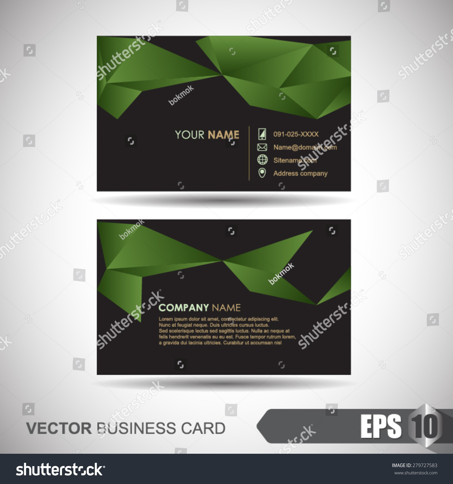 Business Card Abstract Background Origami Stock Vector 279727583 ...