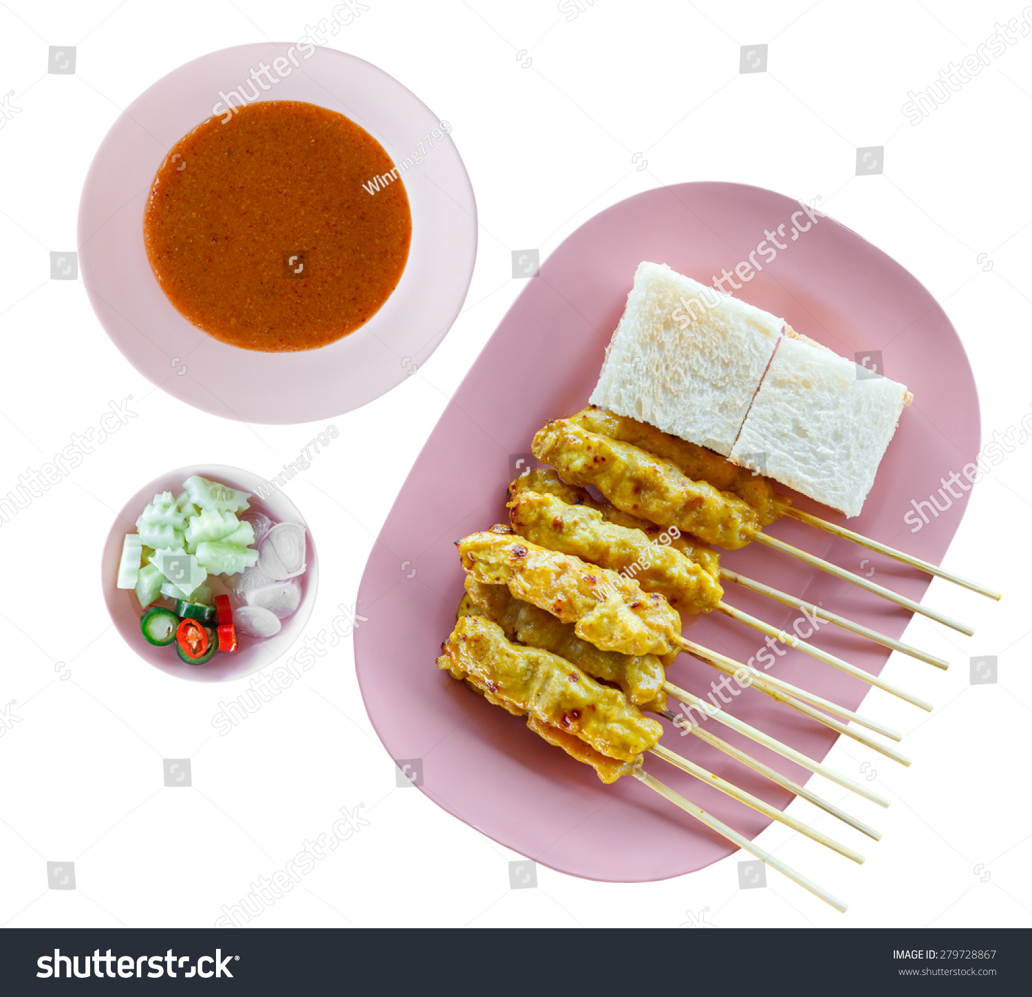 Grilled Pork Satay With Peanut Sauce And Vinegar On White Background ...