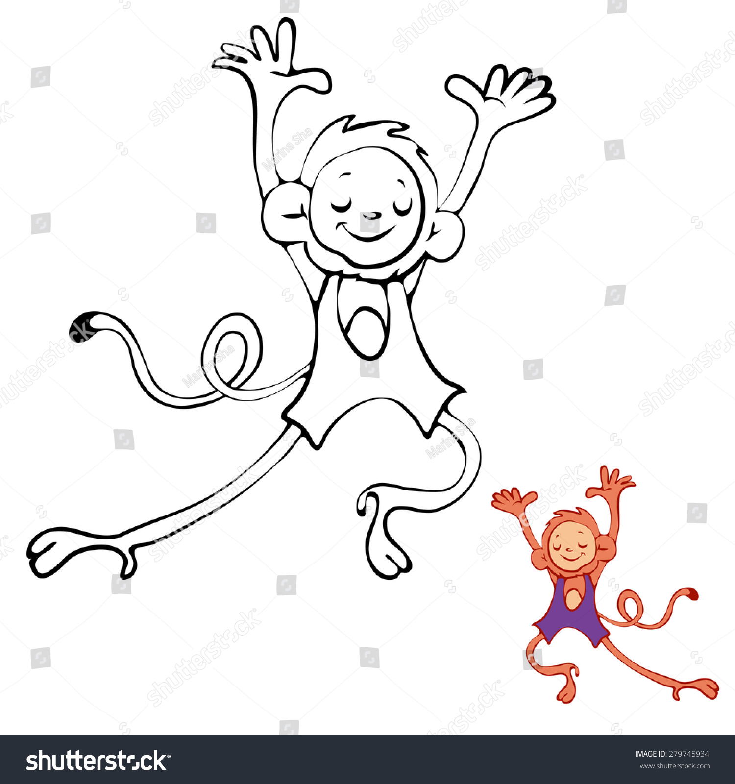 Coloring Book Monkey Kids Layout Game Stock Vector 279745934 ...