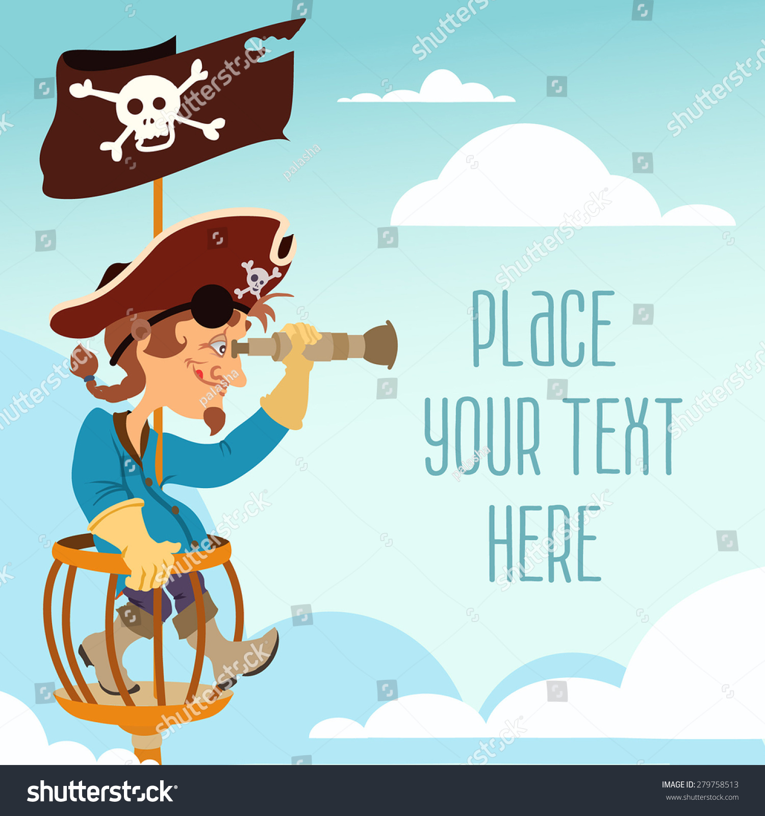 cute cartoon pirate man looking through a spyglass