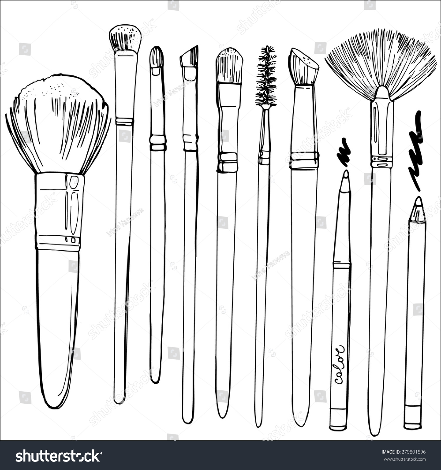 Line Art Brushes Photo : Set brushes makeup painted line sketch stock vector