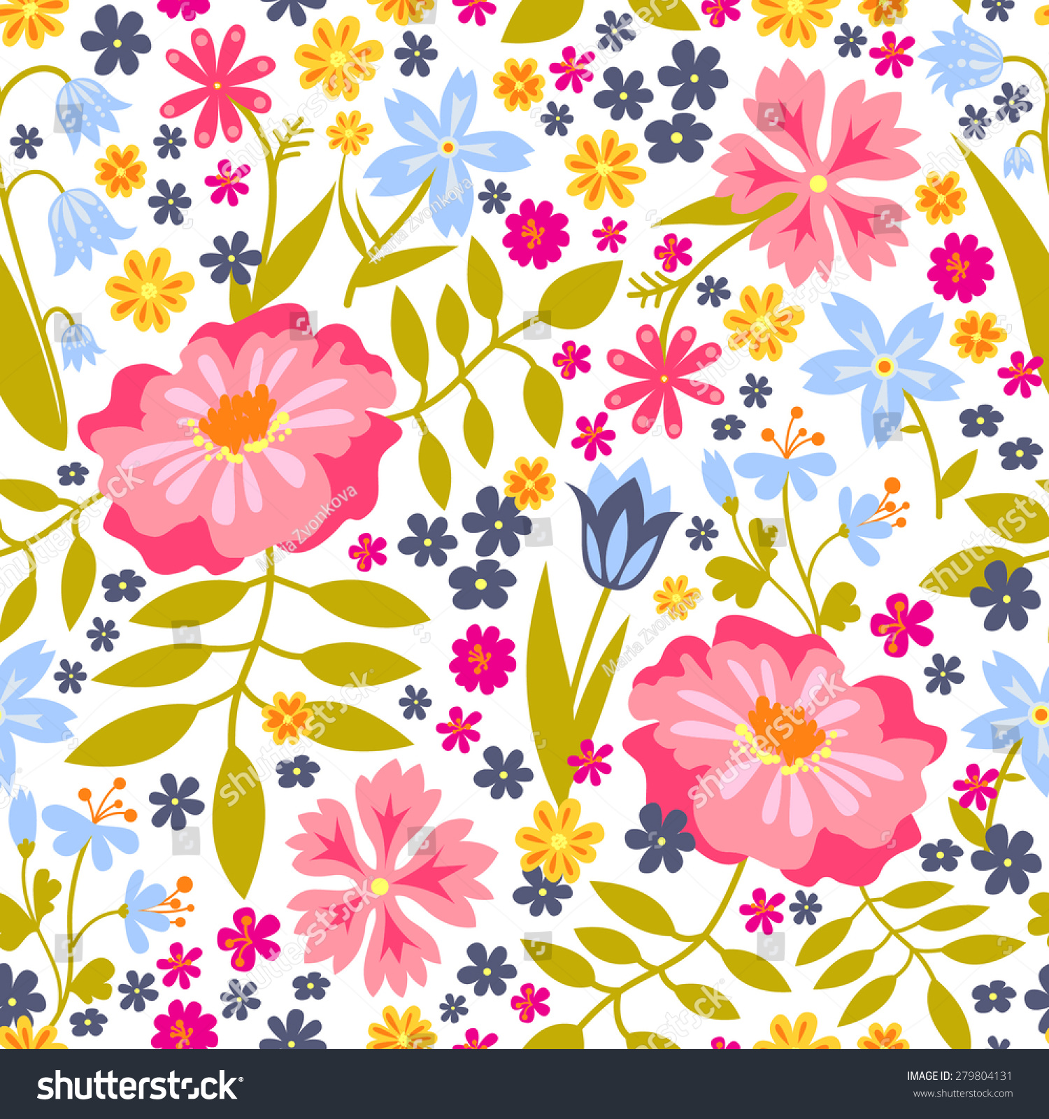 Seamless Floral Pattern Background Summer Flower Stock Vector