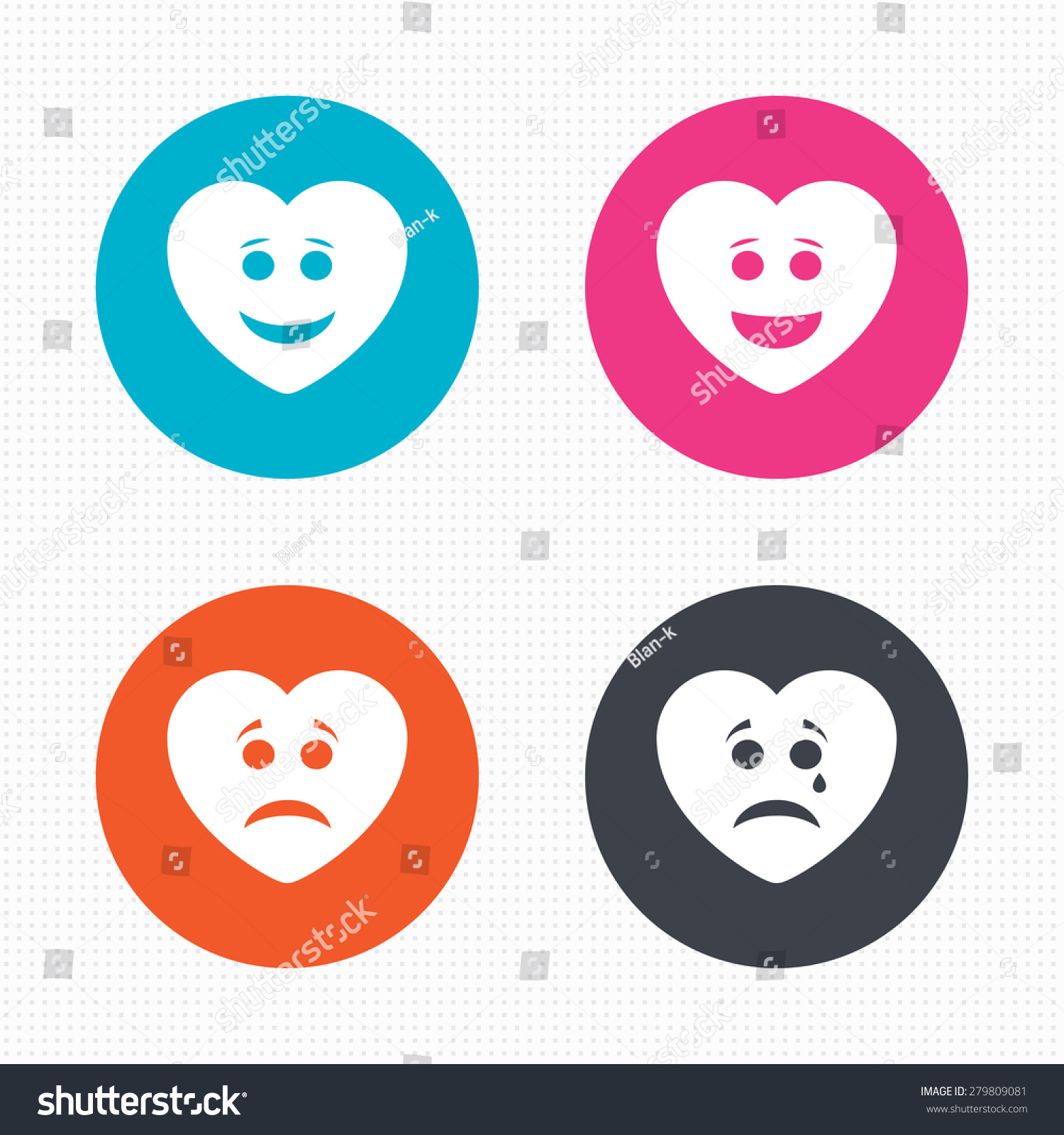 Circle Buttons Heart Smile Face Icons Stock Vector Royalty Free