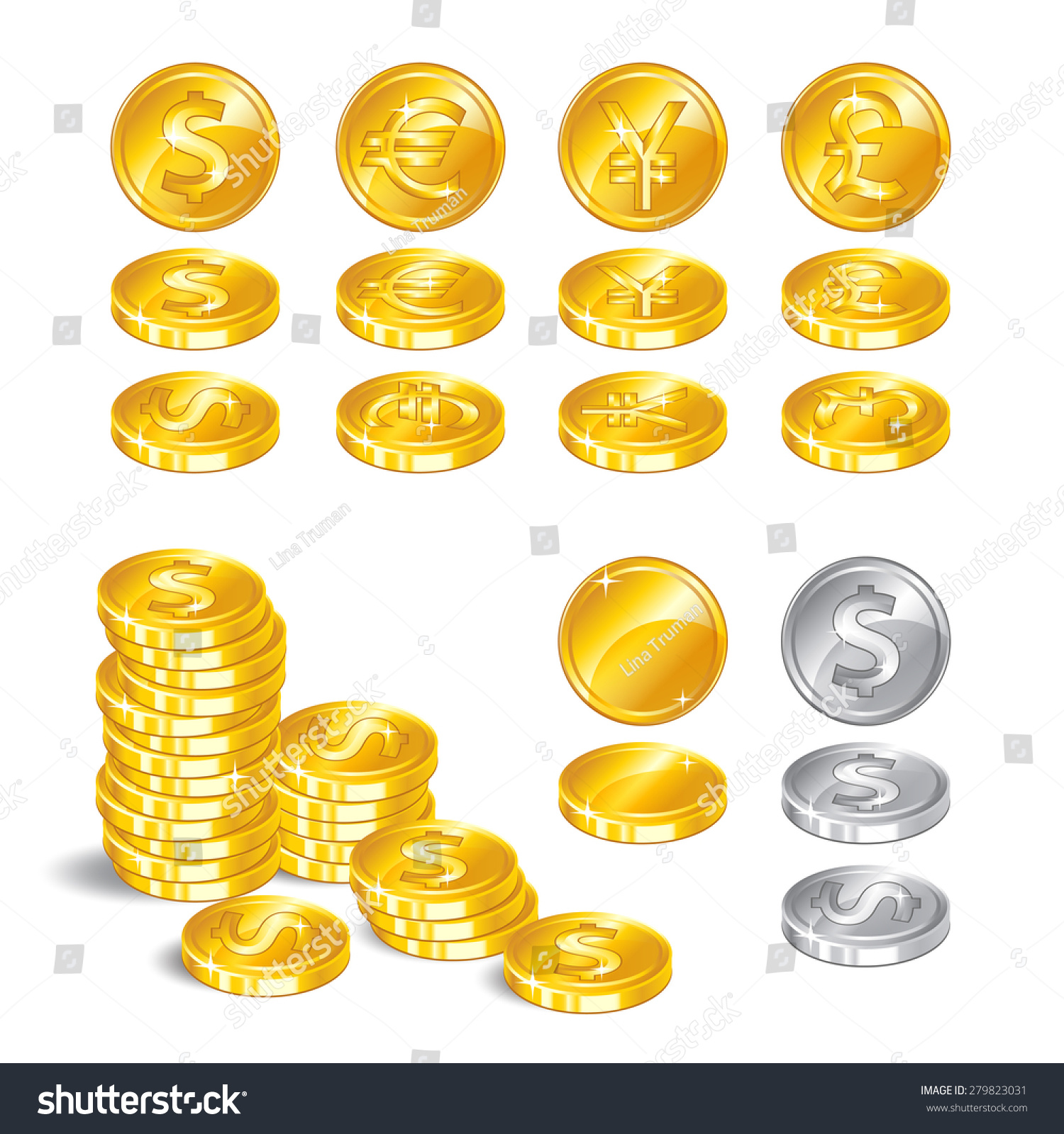 Gold Coins Signs World Currencies Symbol Stock Illustration