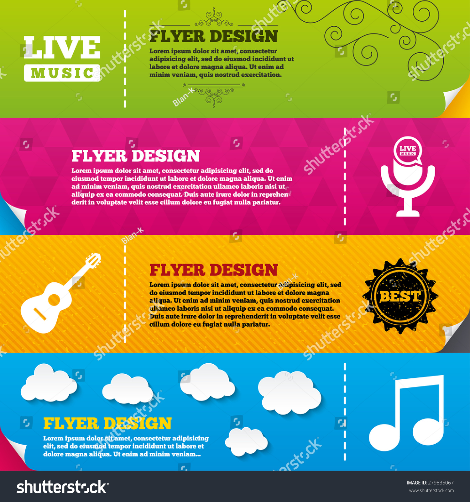 Flyer Brochure Designs Musical Elements Icons Vector – Music Brochure