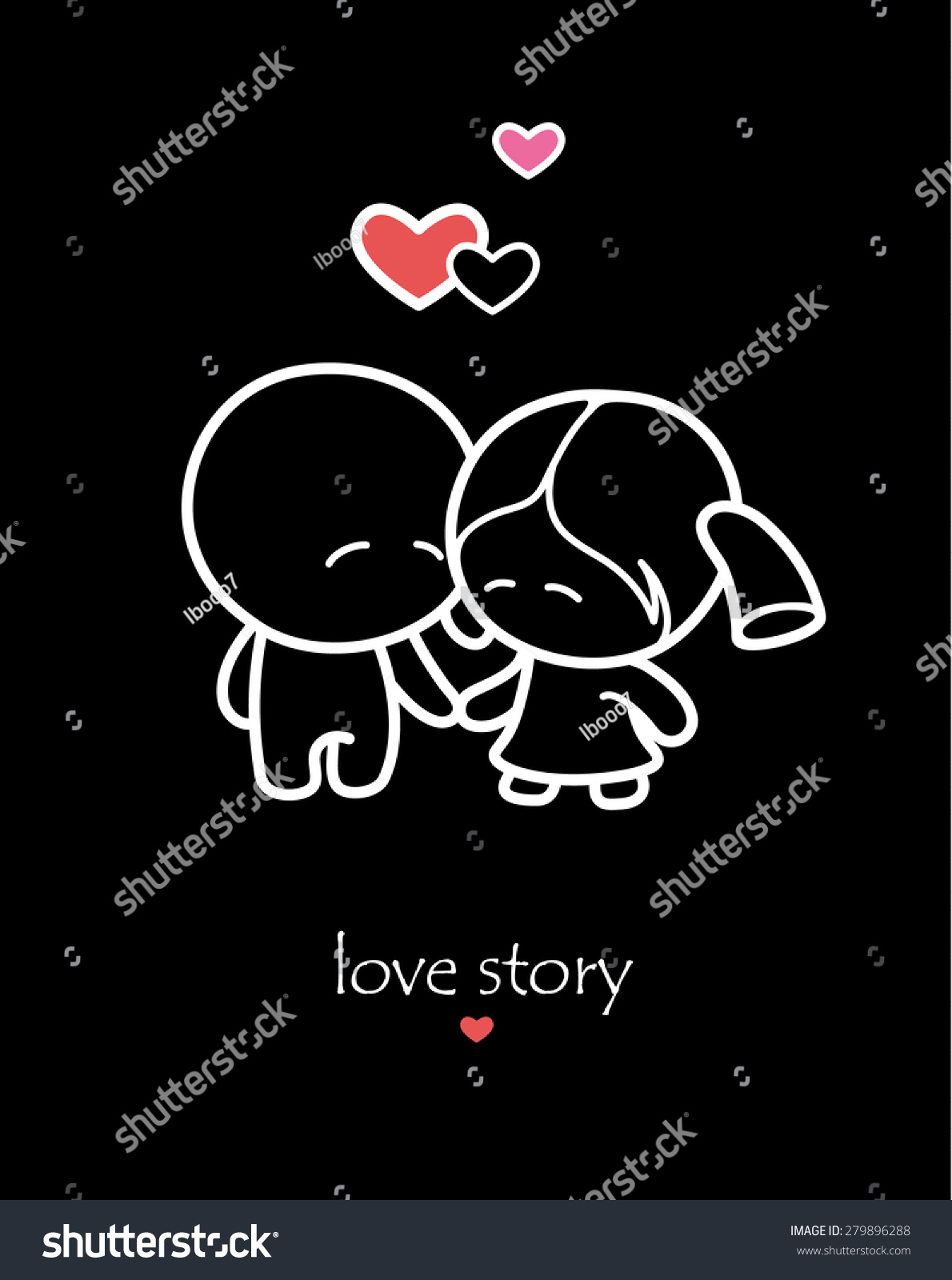 Cartoon couple of lovers on black background