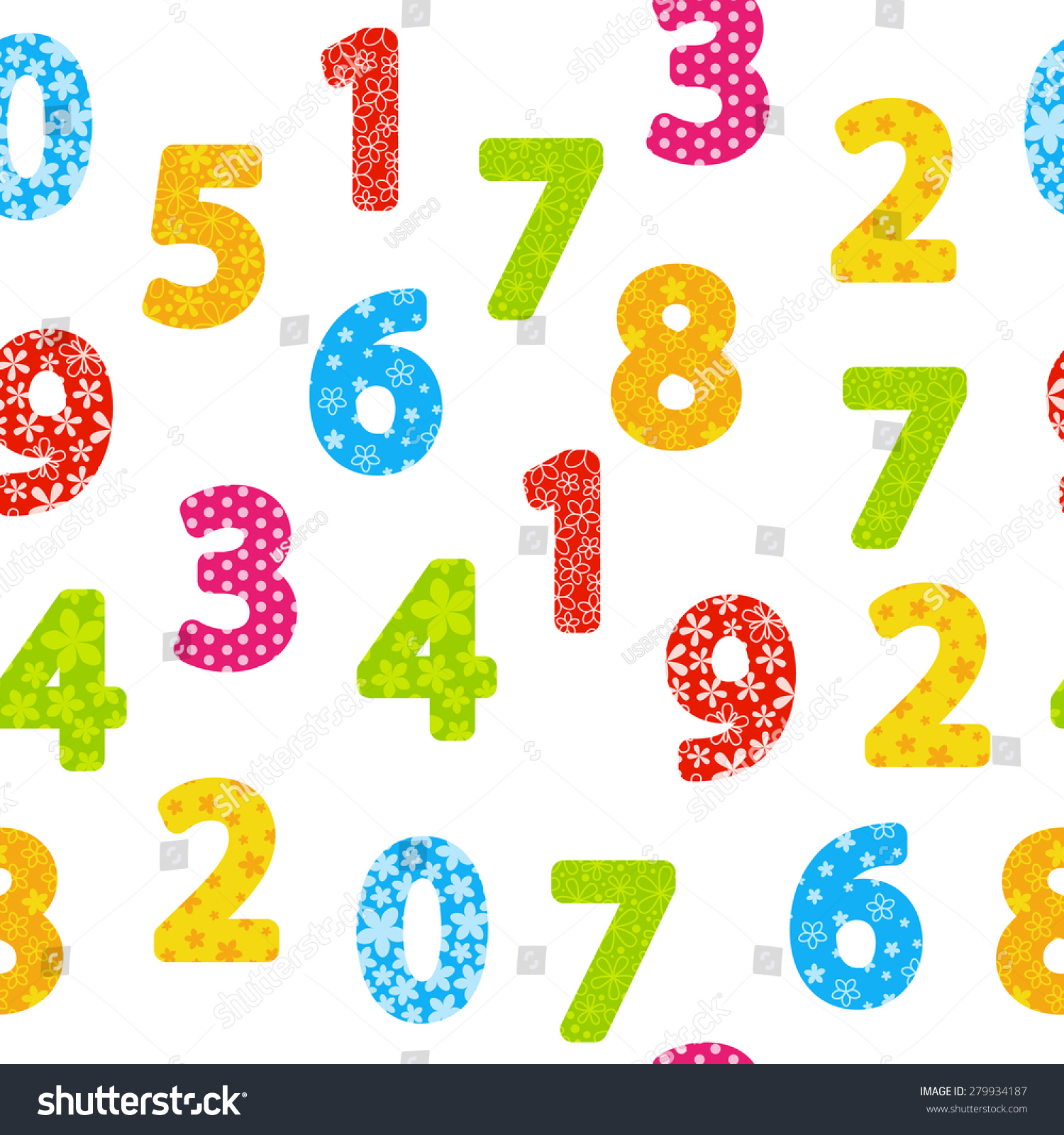seamless pattern color numbers stock vector 279934187 shutterstock
