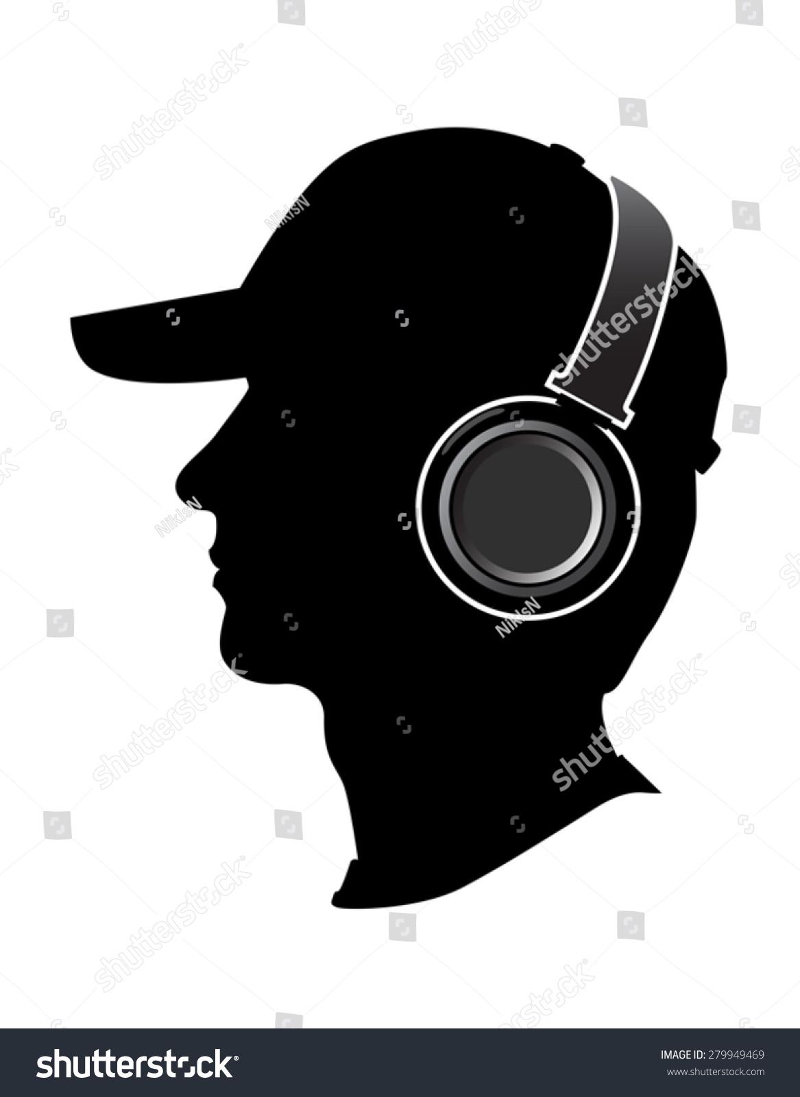 Man Listening Music On Headphones Silhouette Stock Vector ...