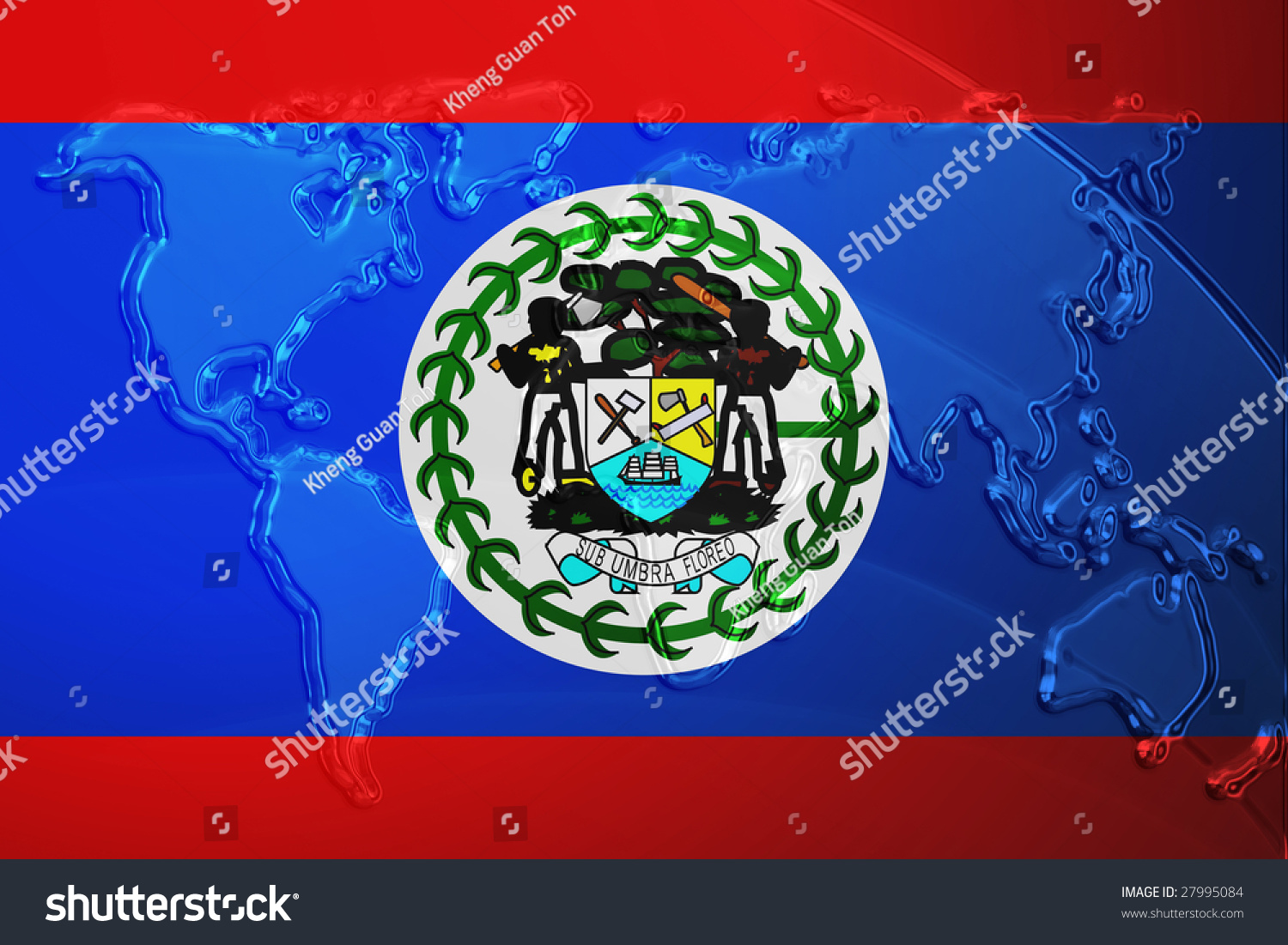 Flag belize national country symbol illustration stock flag of belize national country symbol illustration with world map metallic embossed look biocorpaavc Image collections