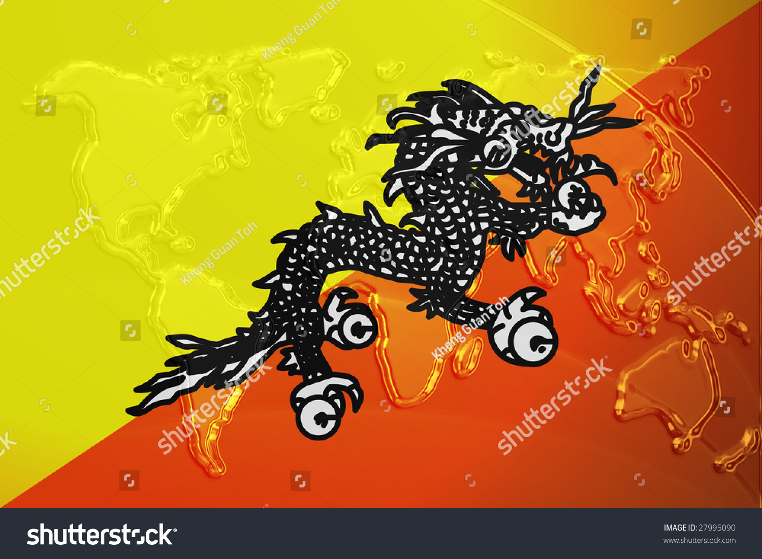 Flag Bhutan National Country Symbol Illustration Stock Illustration