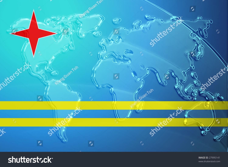 Flag Aruba National Country Symbol Illustration Stock Illustration