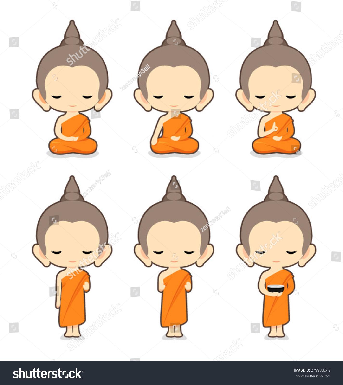 Character Design Vector : Buddhist monk character designvector illustration stock