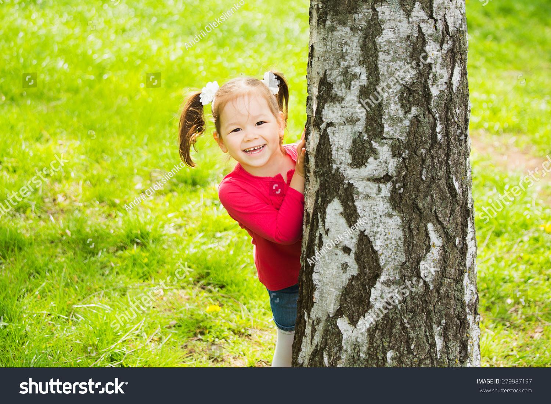 Hide Seek Kids: Child Playing Hide Seek Cute Little Stock Photo 279987197