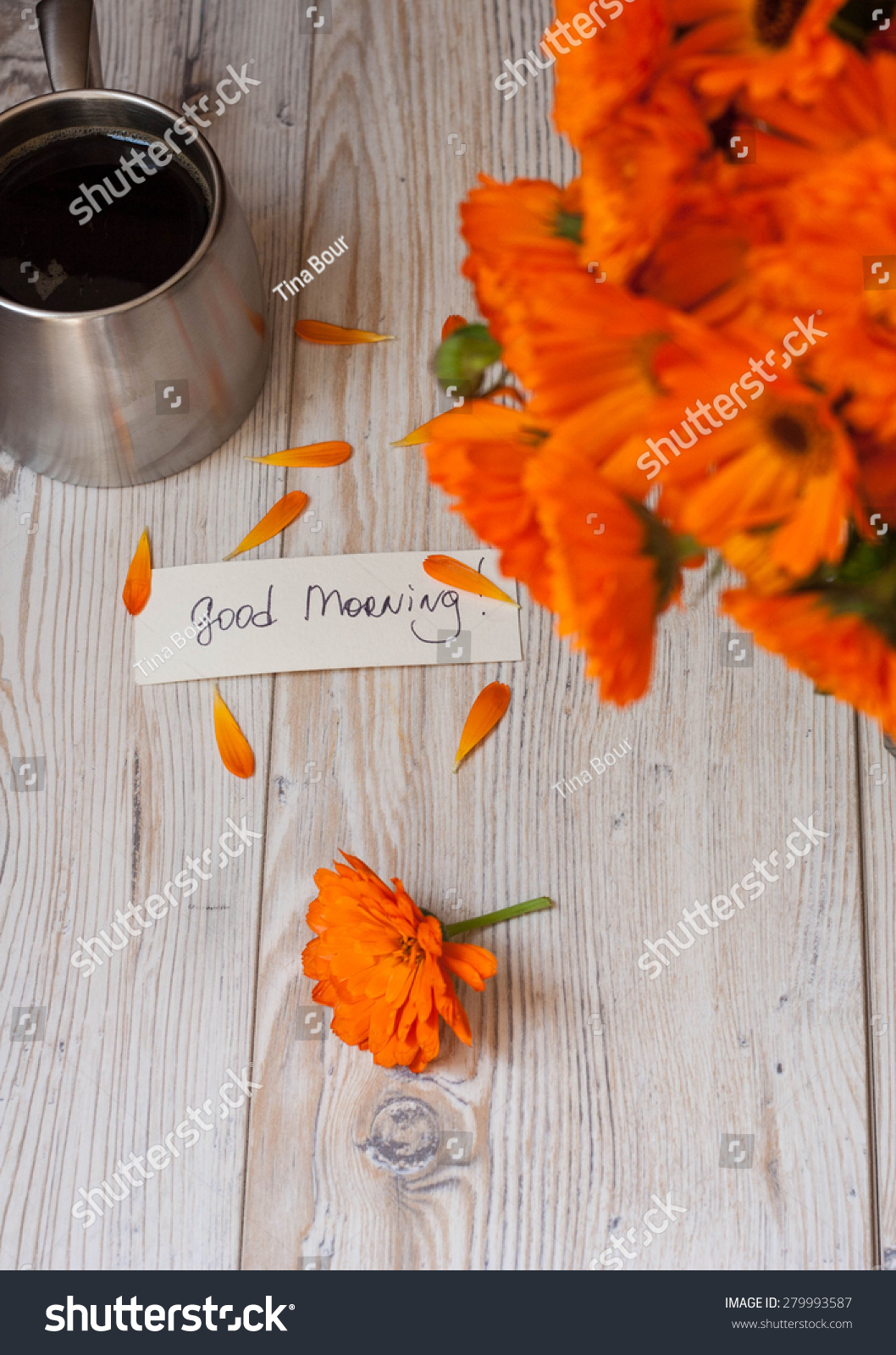 Good Morning Orange Flowers : Royalty free orange flowers with coffee and good