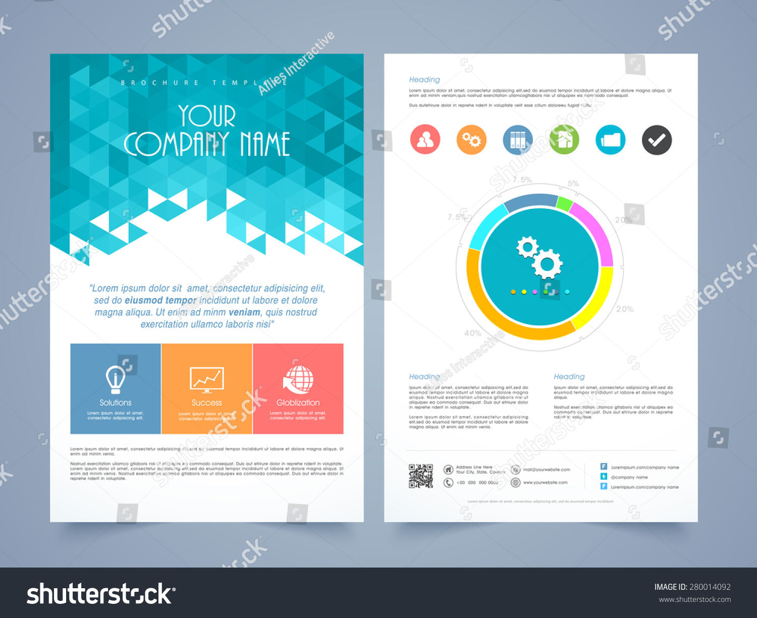 infographic brochure template - creative two page business flyer template stock vector