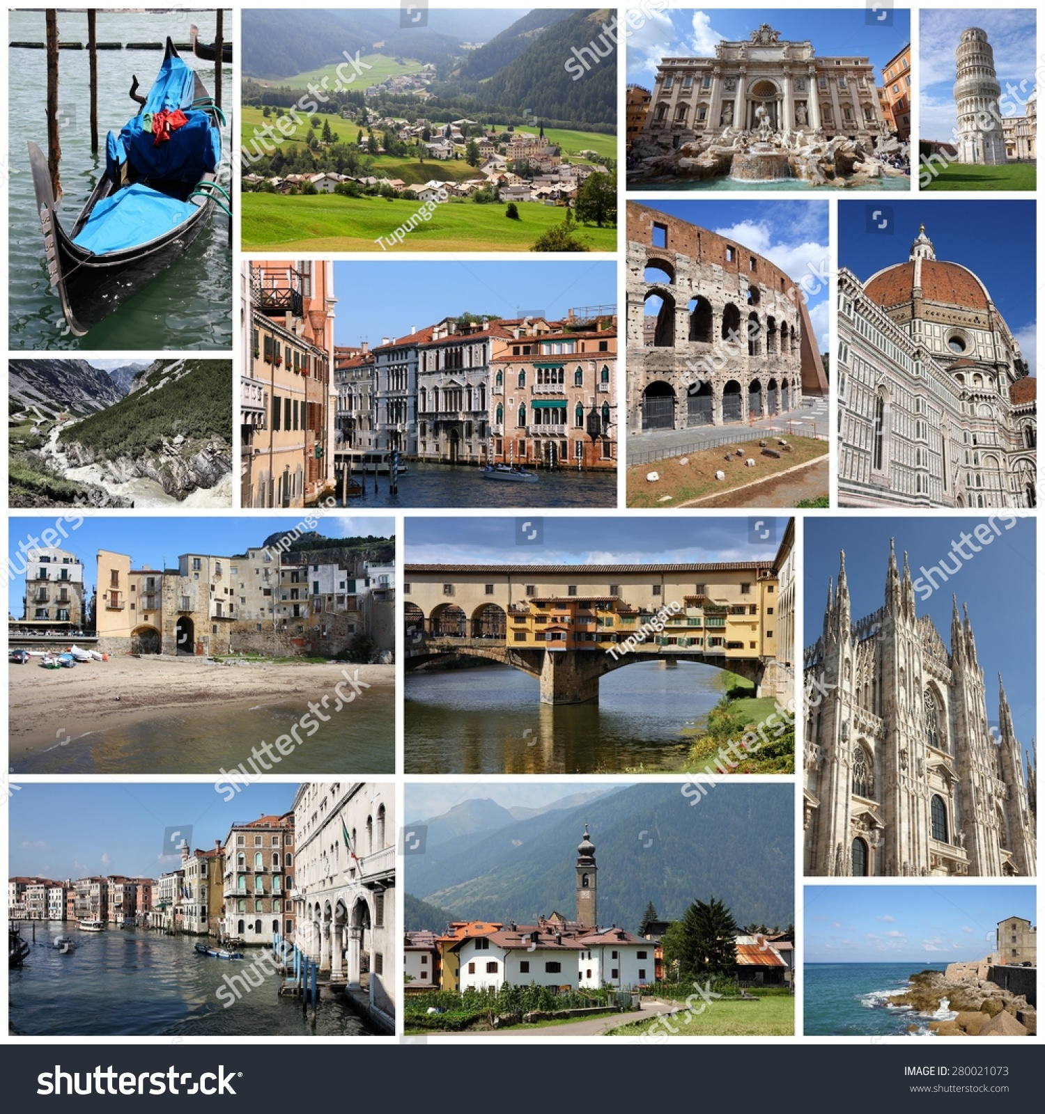 Italy Tourism Attractions Travel Collage Stock Safe to