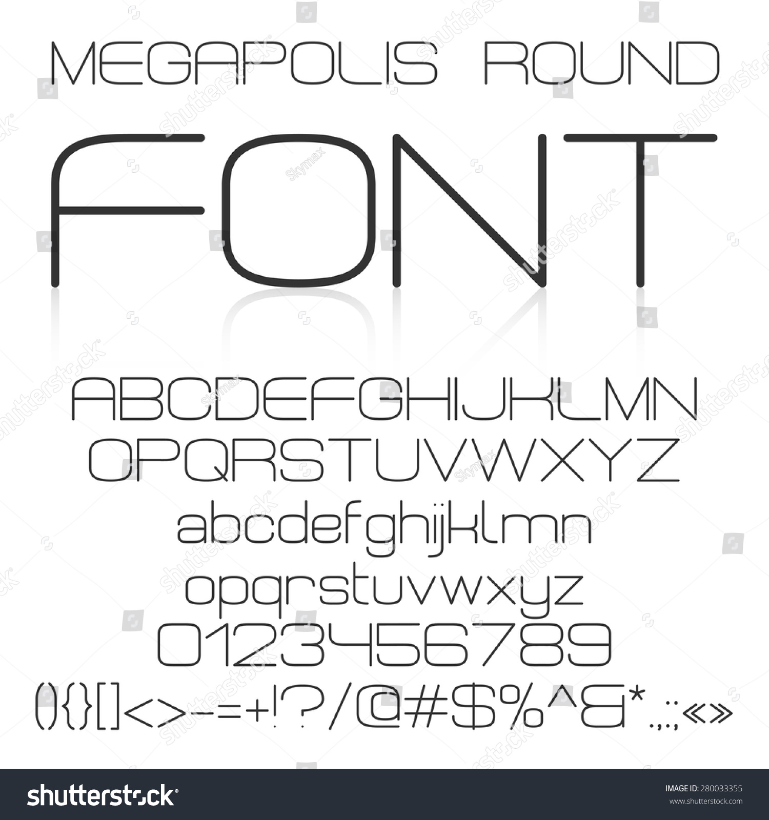Trendy modern elegant font alphabet with upper case and lower case letters numbers and symbols