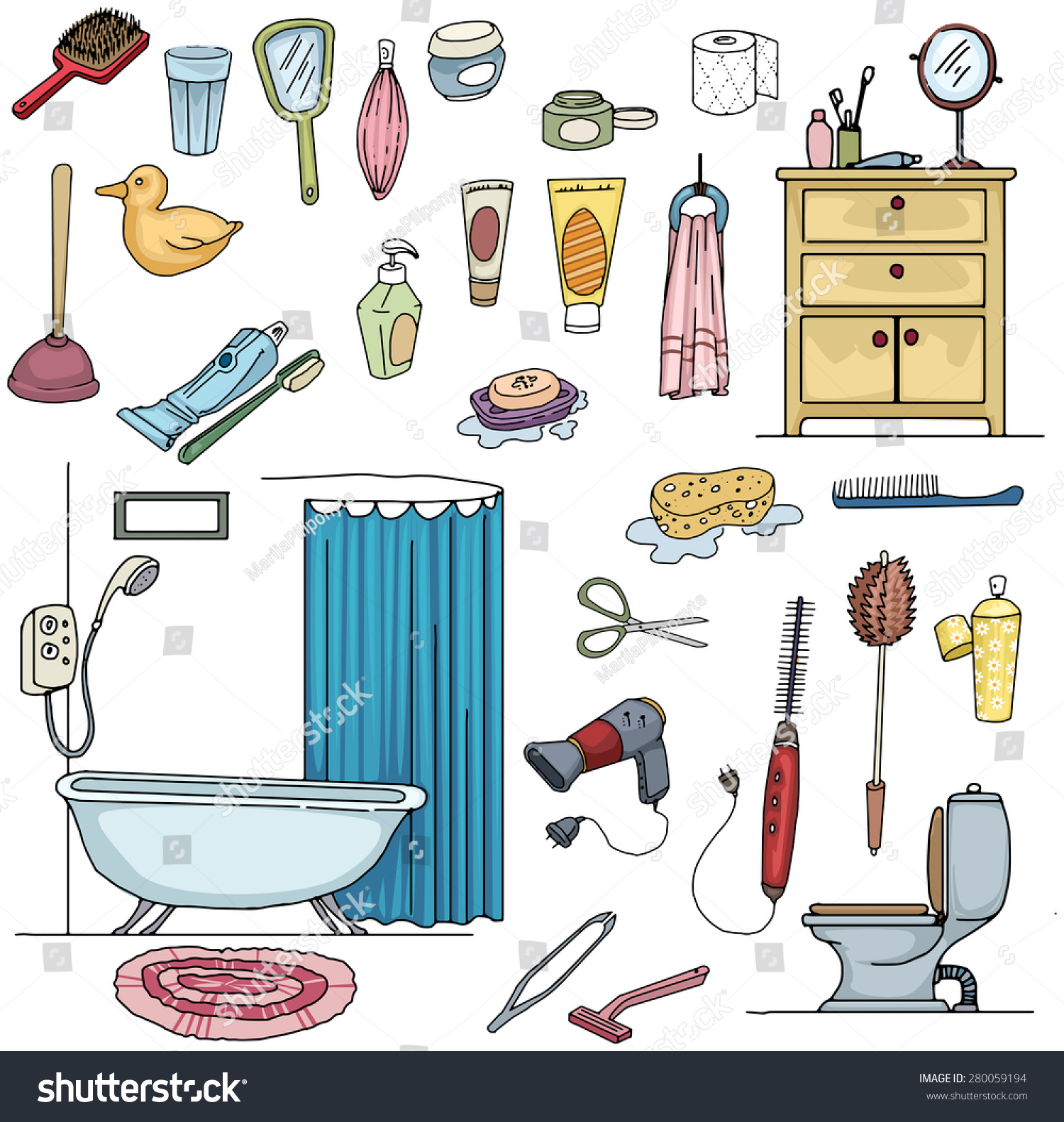 Colorful Hand Drawn Bathroom Clean Hygiene Stock Vector