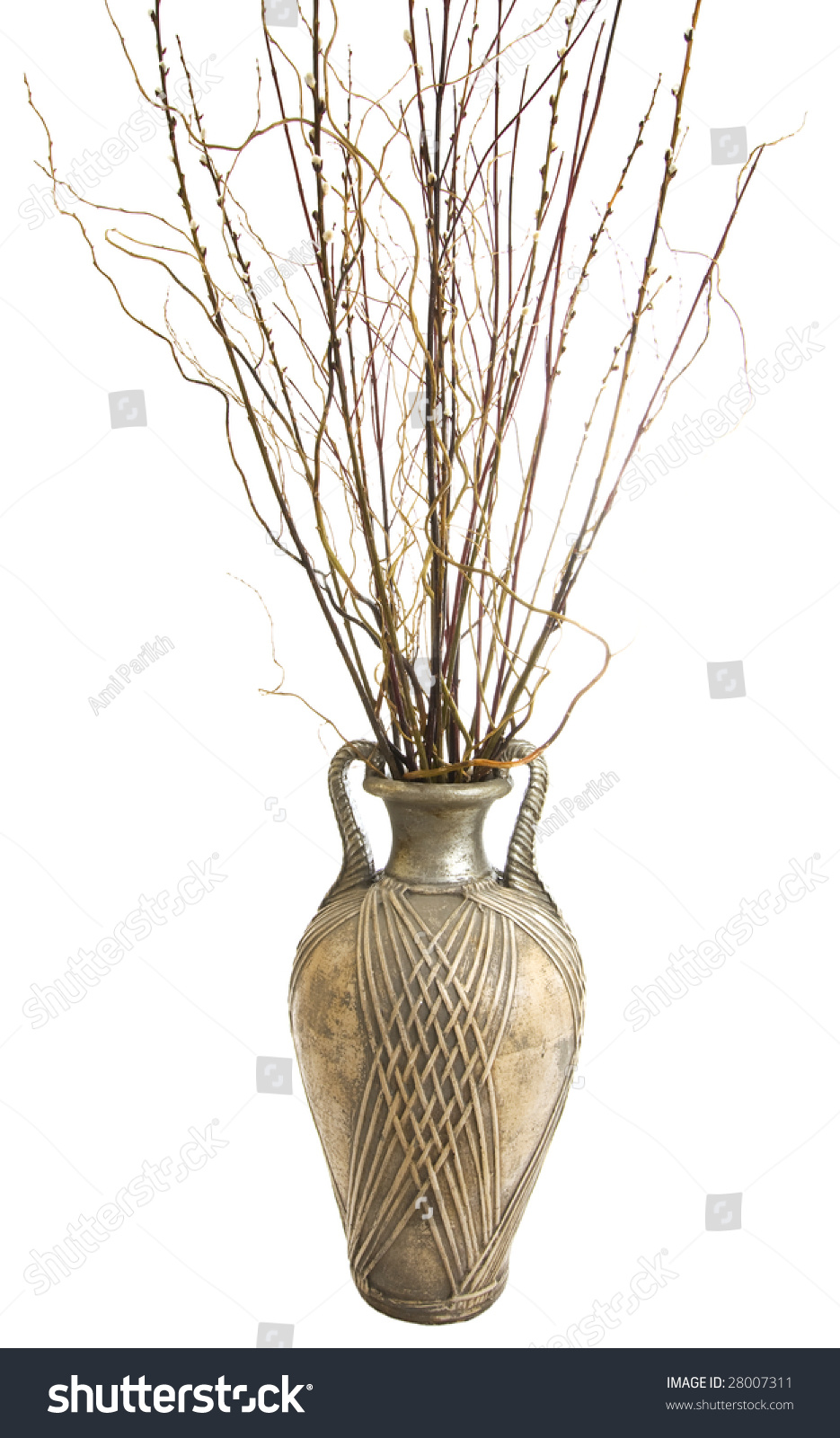 Large Antique Floor Vase With Decorative Sticks Arrangement Isolated On White