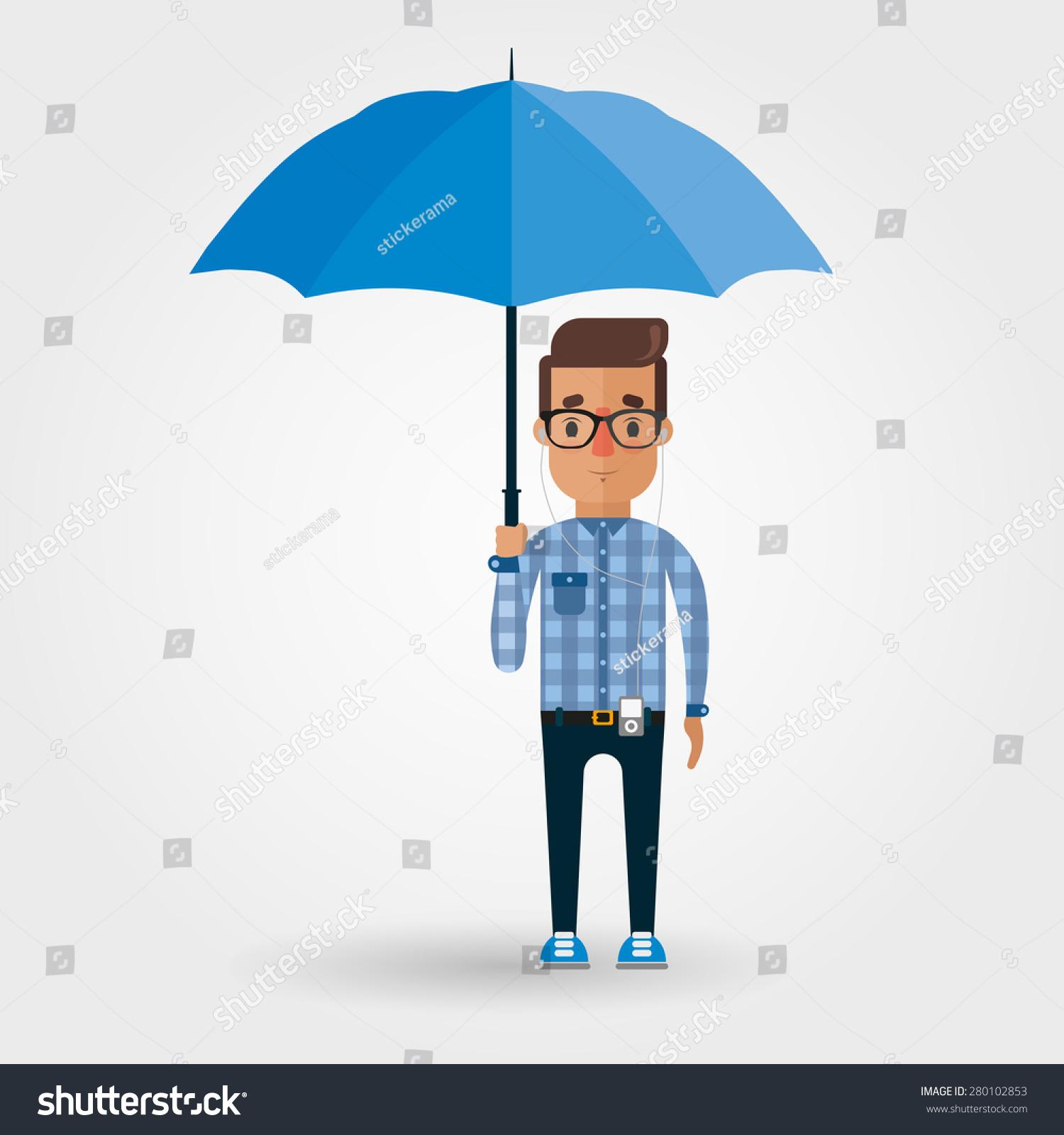 vector cartoon hipster umbrella stock vector 280102853 shutterstock