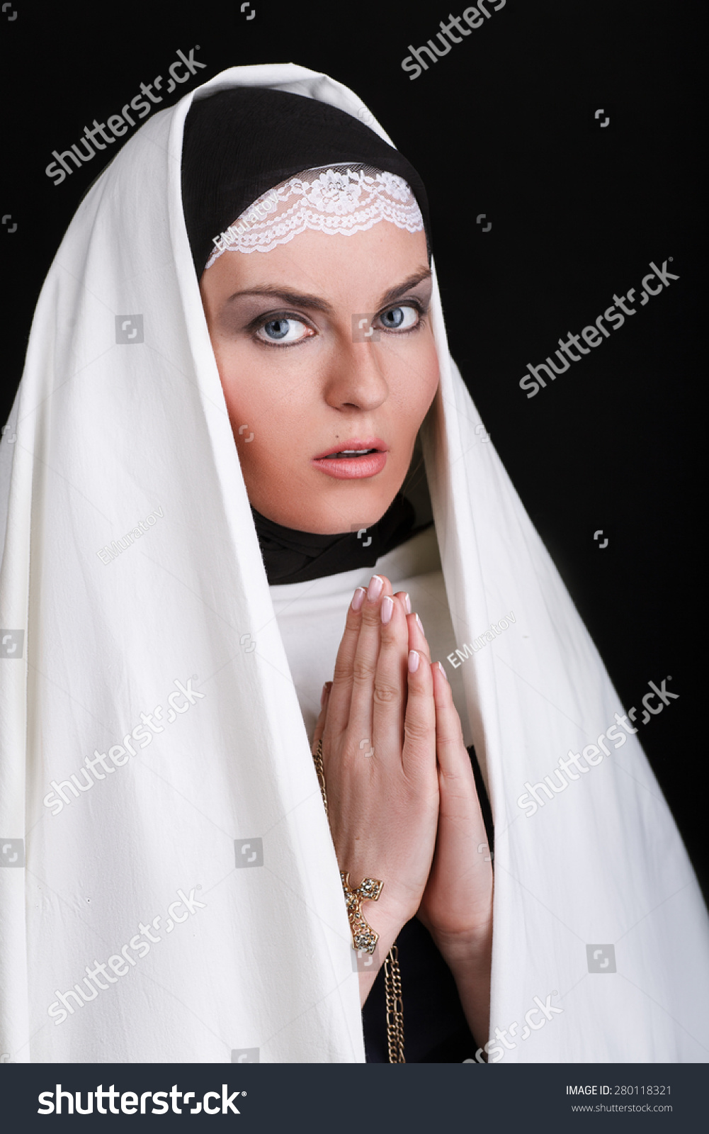 front portrait young beautiful nun stock photo & image (royalty-free