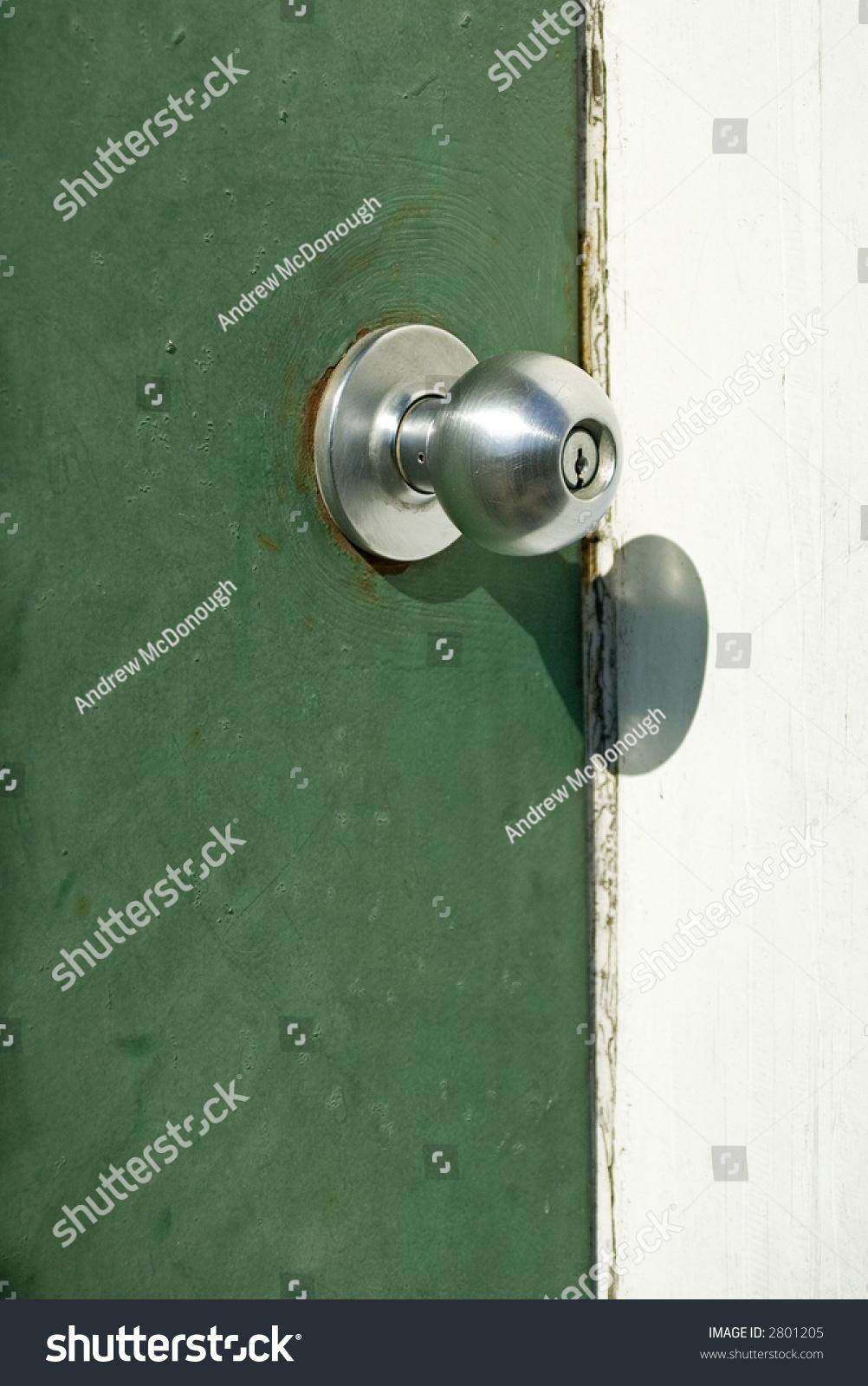Chrome Door Knob On Green Door Stock Photo 2801205 - Shutterstock