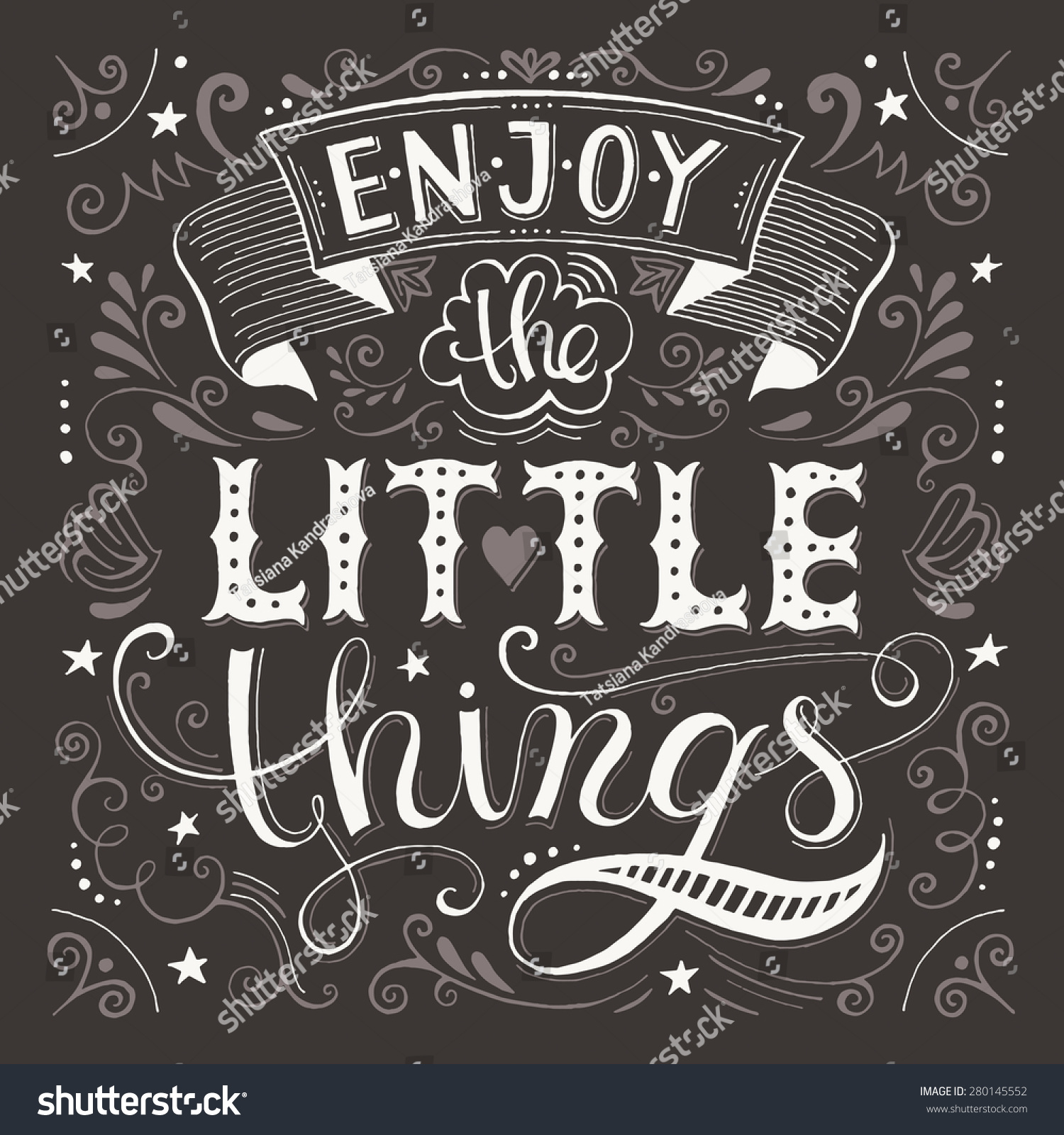 Enjoy Little Things Motivation Quote Vector Stock Vector