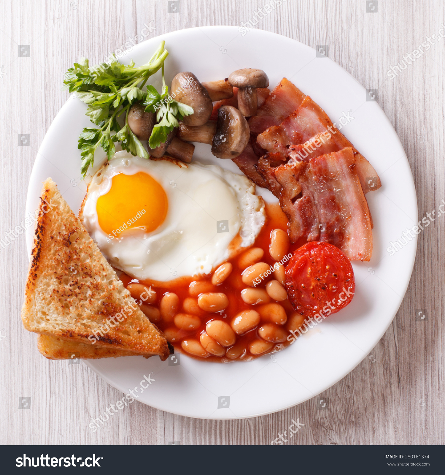 English Breakfast Fried Egg Bacon Beans Stock Photo ...