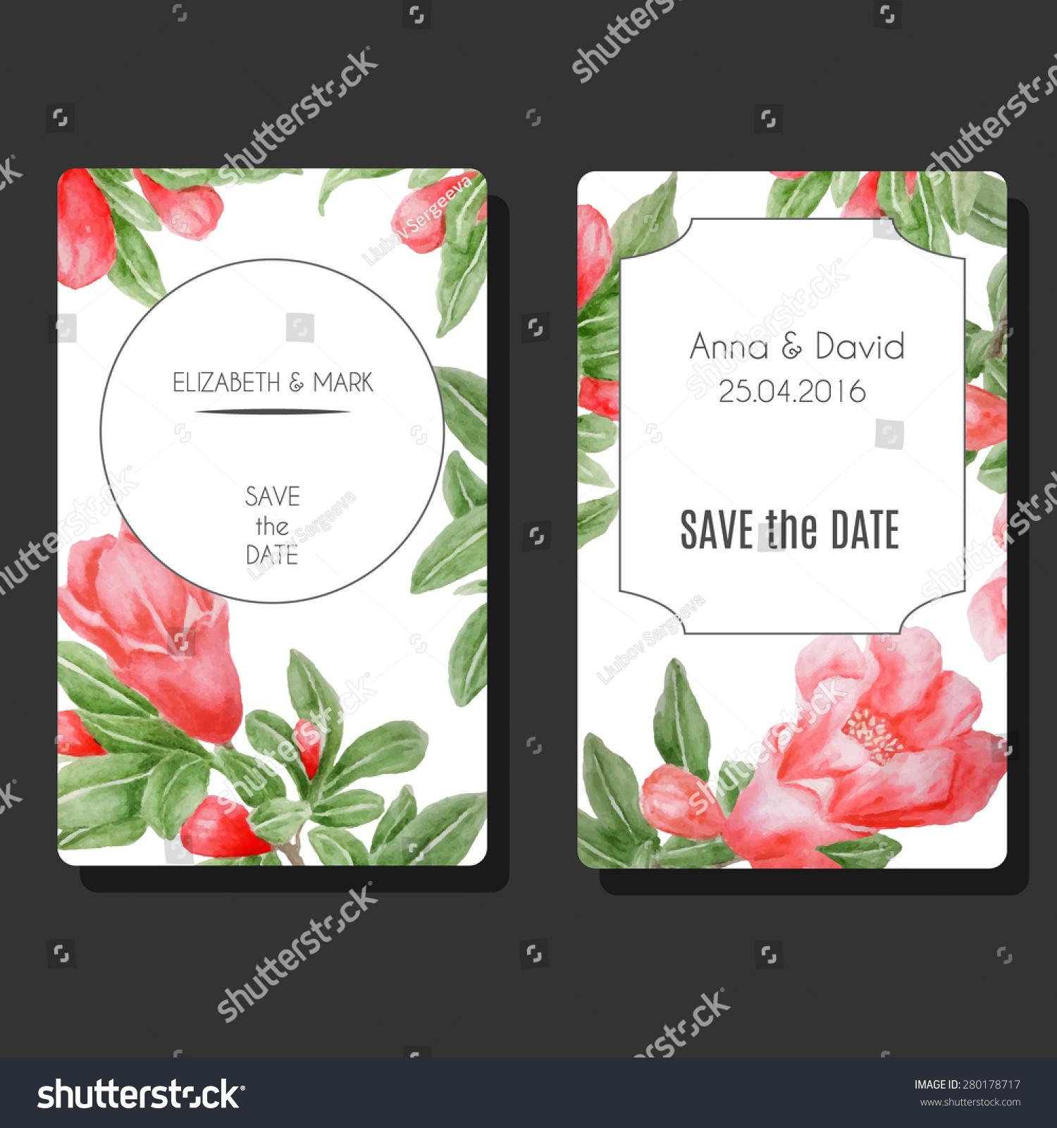 Set Vector Card Templates Decorative Pomegranate Stock Vector ...
