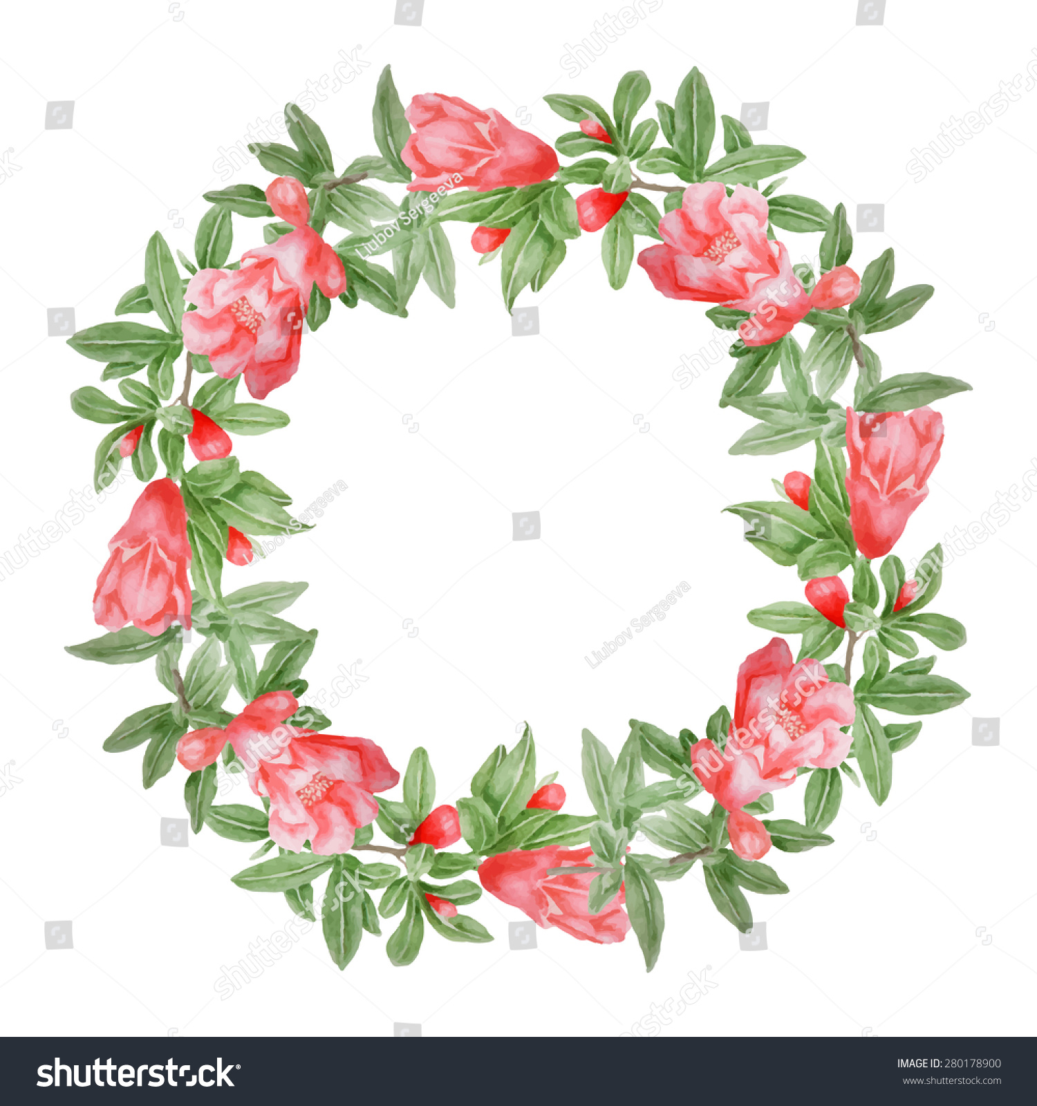 Vector Pomegranate Tree Flowers Watercolor Wreath Stock Vector ...