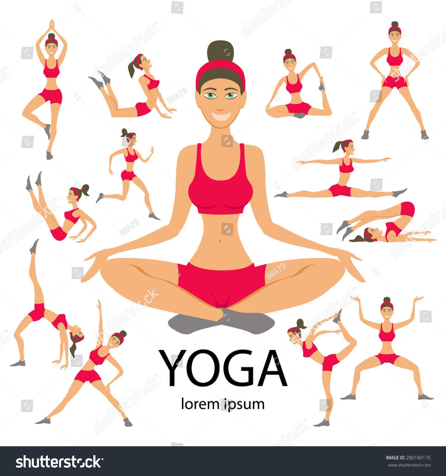Vector Yoga Illustration Set Exercises Women Stock Vector ...