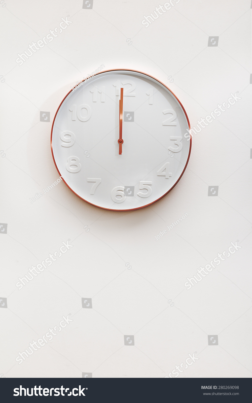 Modern White Clock Part - 46: Modern Copper And White Decorative Wall Clock On A White Wall