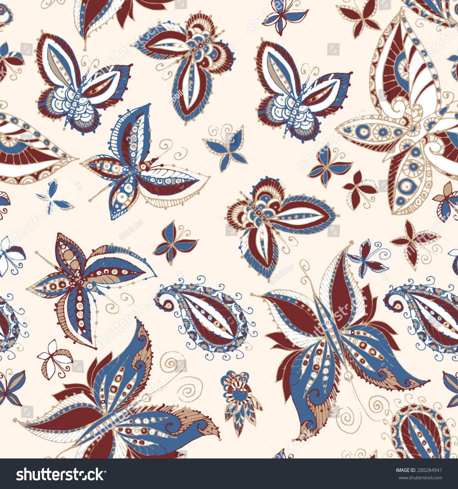 Beautiful Seamless Batik Pattern Butterflies Stock Vector