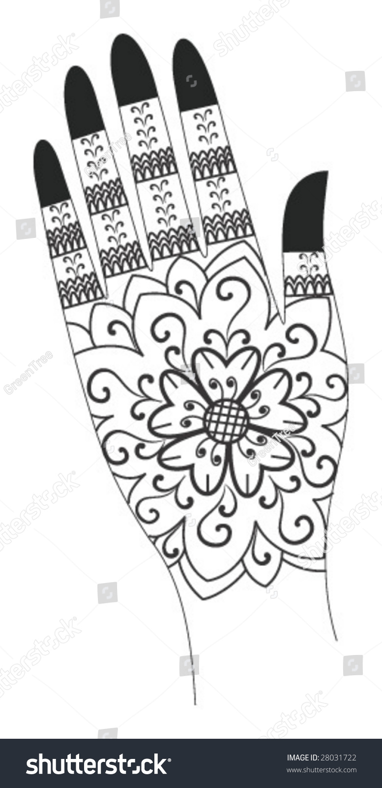 Mehndi Hands Clipart : Vector illustration of a henna tattoo artwork india