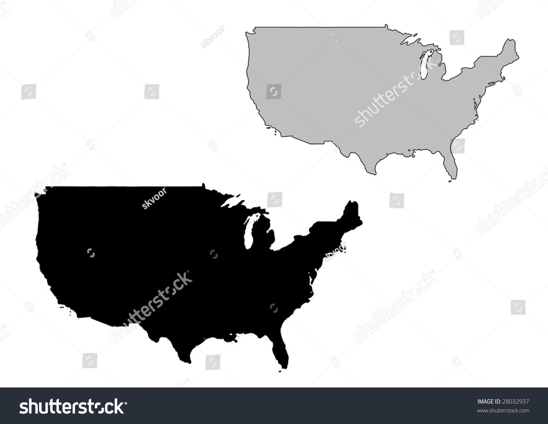 United States Map Black White Mercator Stock Vector - Us map mercator