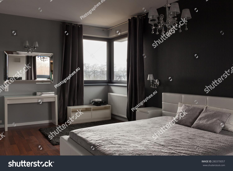 Dark Expensive Bedroom Black Grey Walls Stock Photo Edit Now 280370057