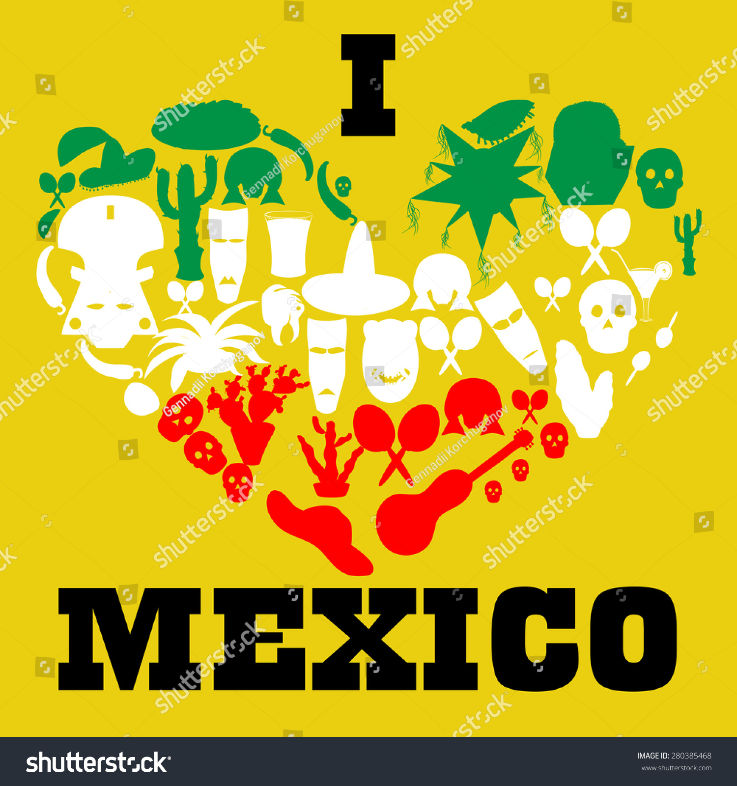 poster love mexico painted colors flag stock vector 280385468