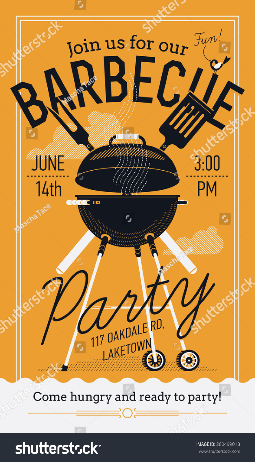 lovely vector barbecue party invitation design stock vector 280499018 shutterstock. Black Bedroom Furniture Sets. Home Design Ideas