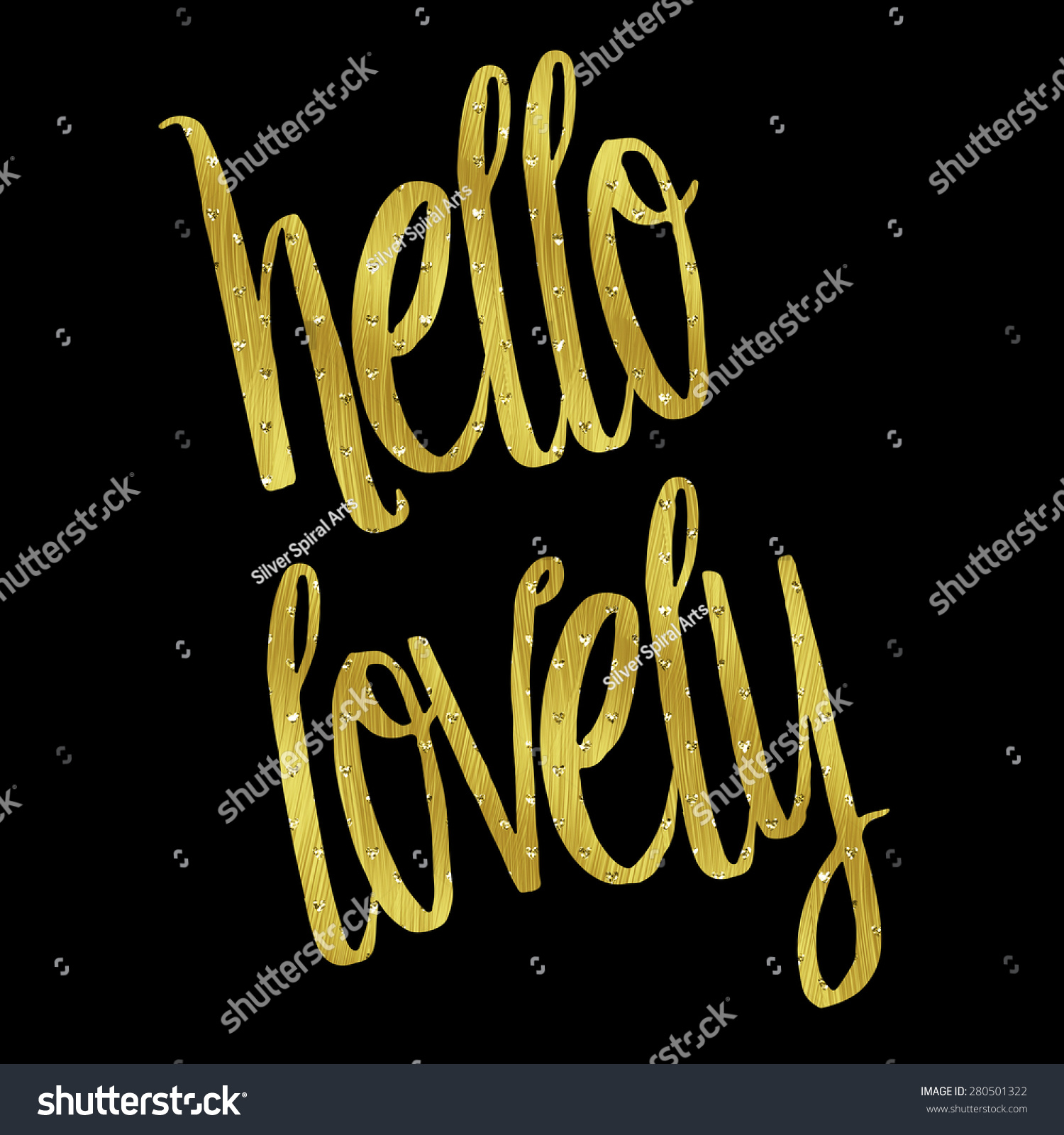 Delightful Hello Lovely Gold Faux Foil Metallic Stock Illustration 280501322    Shutterstock