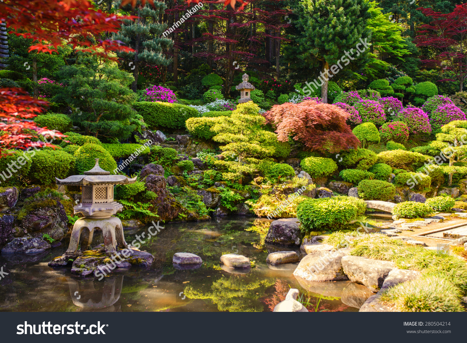 Japanese garden with pond behind house stock photo 280504214 shutterstock - The pond house nature above all ...