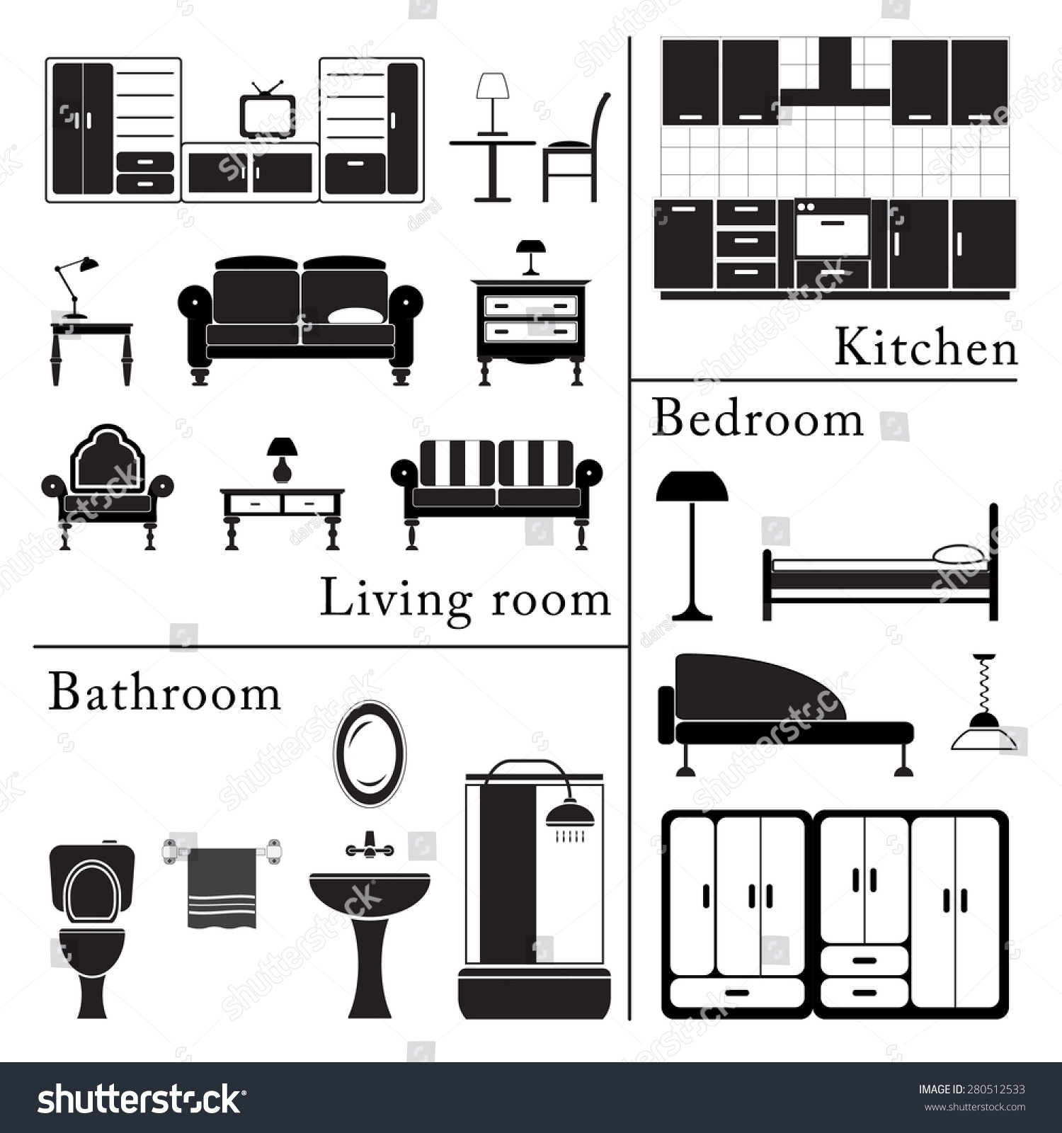 living room bedroom bathroom kitchen home furniture icons set living room bedroom kitchen 18975