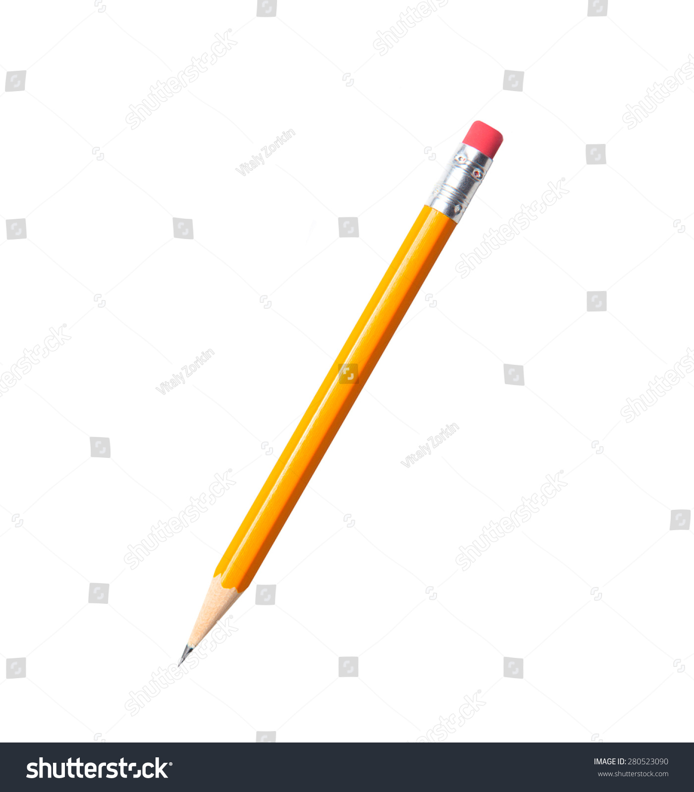 Amazing isolated tilted yellow pencil on pure white background. #280523090