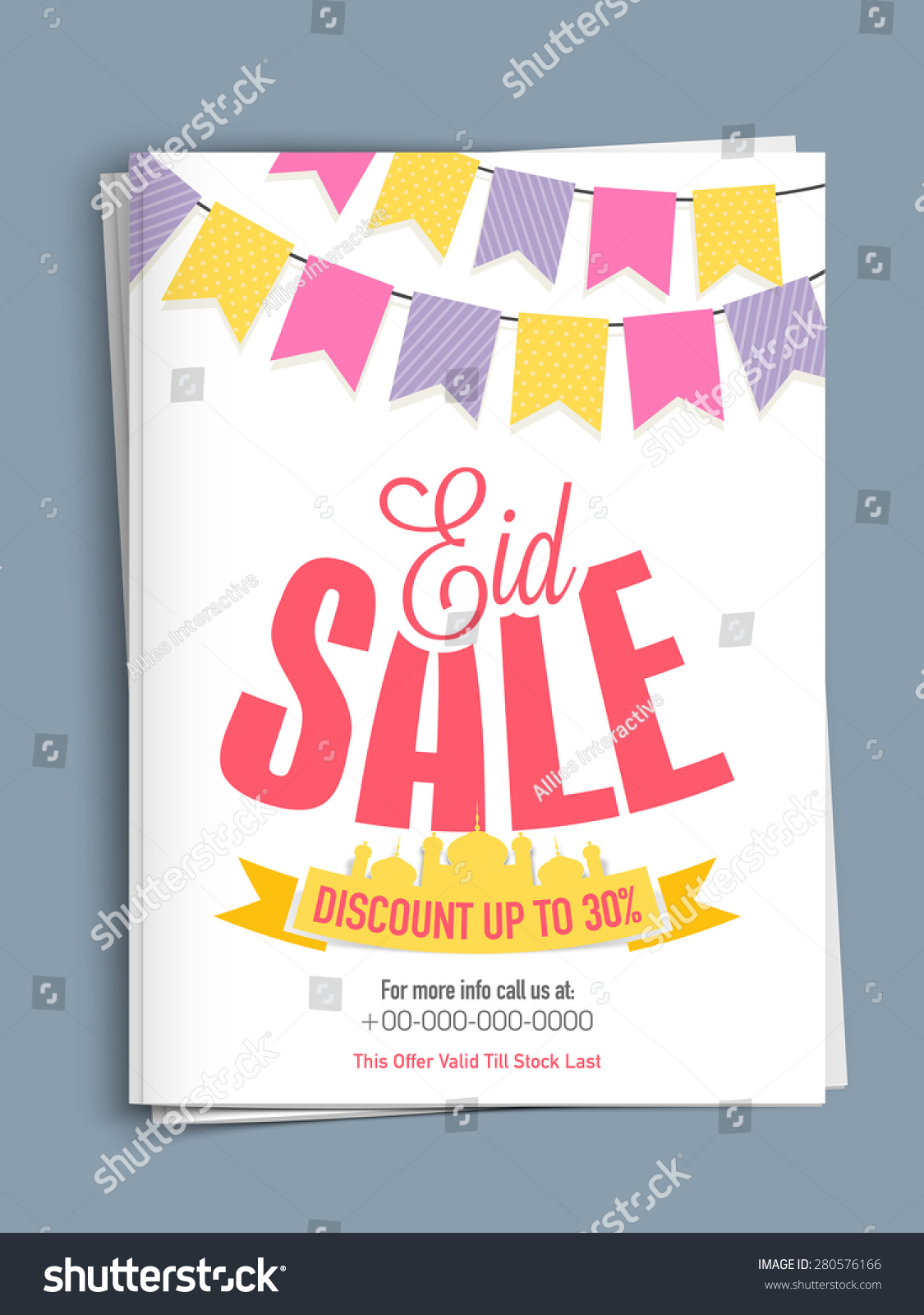 eid template or flyer presentation decorated mosque save to a lightbox