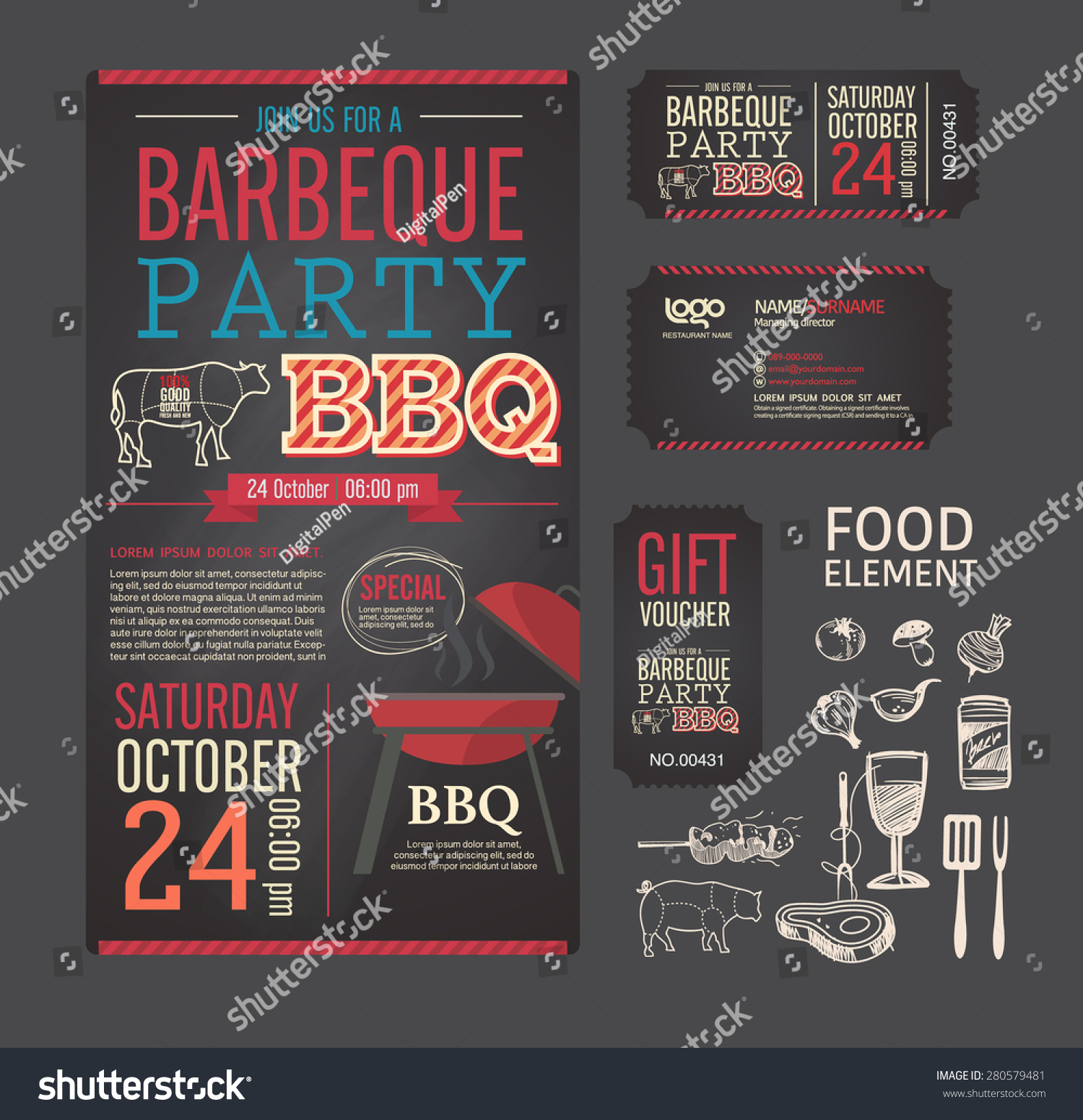 Barbecue Party Bbq Template Menu Design Vector 280579481 – Food Tickets Template