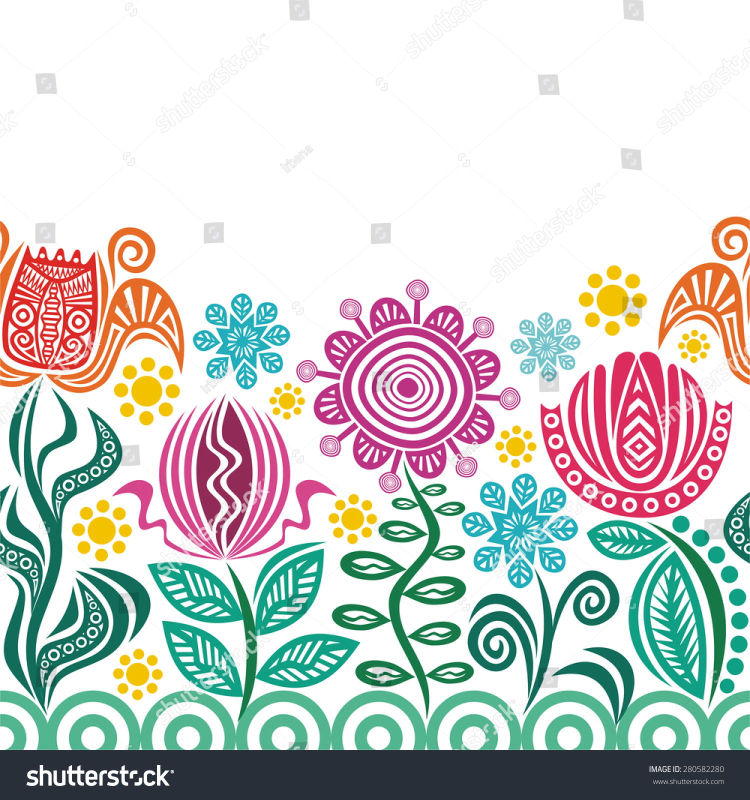 Floral nature pattern seamless border vector illustration